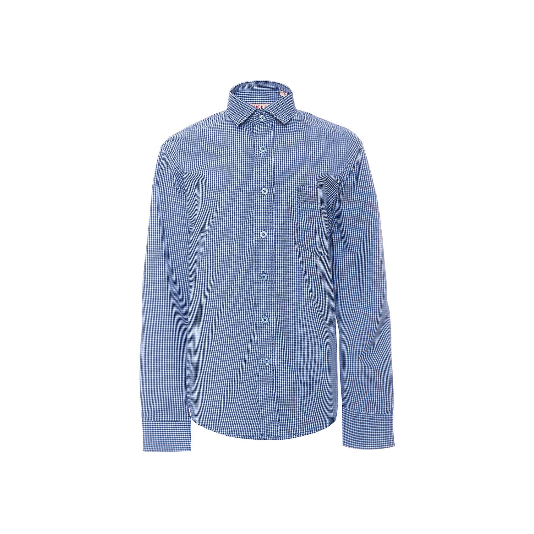 Рубашка для мальчика ImperatorБлузки и рубашки<br>Характеристики товара:<br><br>• цвет: синий<br>• состав ткани: 65% хлопок, 35% полиэстер<br>• особенности: школьная, праздничная<br>• застежка: пуговицы<br>• рукава: длинные<br>• сезон: круглый год<br>• страна бренда: Российская Федерация<br>• страна изготовитель: Китай<br><br>Сорочка классического кроя для мальчика - отличный вариант практичной и стильной школьной одежды.<br><br>Накладной карман, свободный покрой, дышащая ткань с преобладанием хлопка - красиво и удобно.<br><br>Рубашку для мальчика Imperator (Император) можно купить в нашем интернет-магазине.<br><br>Ширина мм: 174<br>Глубина мм: 10<br>Высота мм: 169<br>Вес г: 157<br>Цвет: синий<br>Возраст от месяцев: 156<br>Возраст до месяцев: 168<br>Пол: Мужской<br>Возраст: Детский<br>Размер: 164/170,122/128,128/134,134/140,140/146,146/152,146/152,152/158,152/158,158/164<br>SKU: 6860765