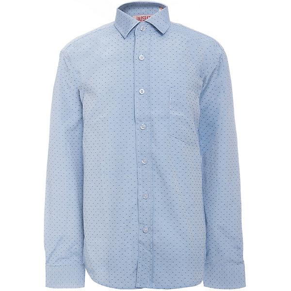 Рубашка для мальчика ImperatorБлузки и рубашки<br>Характеристики товара:<br><br>• цвет: голубой<br>• состав ткани: 65% хлопок, 35% полиэстер<br>• особенности: школьная, праздничная<br>• застежка: пуговицы<br>• рукава: длинные<br>• сезон: круглый год<br>• страна бренда: Российская Федерация<br>• страна изготовитель: Китай<br><br>Классическая сорочка для мальчика - отличный вариант практичной и стильной школьной одежды.<br><br>Накладной карман, свободный покрой, дышащая ткань с преобладанием хлопка - красиво и удобно.<br><br>Рубашку для мальчика Imperator (Император) можно купить в нашем интернет-магазине.<br><br>Ширина мм: 174<br>Глубина мм: 10<br>Высота мм: 169<br>Вес г: 157<br>Цвет: голубой<br>Возраст от месяцев: 72<br>Возраст до месяцев: 84<br>Пол: Мужской<br>Возраст: Детский<br>Размер: 122/128,164/170,158/164,152/158,152/158,146/152,146/152,140/146,134/140,128/134<br>SKU: 6860776