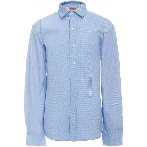 Рубашка для мальчика ImperatorБлузки и рубашки<br>Характеристики товара:<br><br>• цвет: голубой<br>• состав ткани: 65% хлопок, 35% полиэстер<br>• особенности: школьная, праздничная<br>• застежка: пуговицы<br>• рукава: длинные<br>• сезон: круглый год<br>• страна бренда: Российская Федерация<br>• страна изготовитель: Китай<br><br>Сорочка классического кроя для мальчика - отличный вариант практичной и стильной школьной одежды.<br><br>Накладной карман, свободный покрой, дышащая ткань с преобладанием хлопка - красиво и удобно.<br><br>Рубашку для мальчика Imperator (Император) можно купить в нашем интернет-магазине.<br><br>Ширина мм: 174<br>Глубина мм: 10<br>Высота мм: 169<br>Вес г: 157<br>Цвет: синий<br>Возраст от месяцев: 72<br>Возраст до месяцев: 84<br>Пол: Мужской<br>Возраст: Детский<br>Размер: 122/128,164/170,158/164,152/158,152/158,146/152,146/152,140/146,134/140,128/134<br>SKU: 6860787