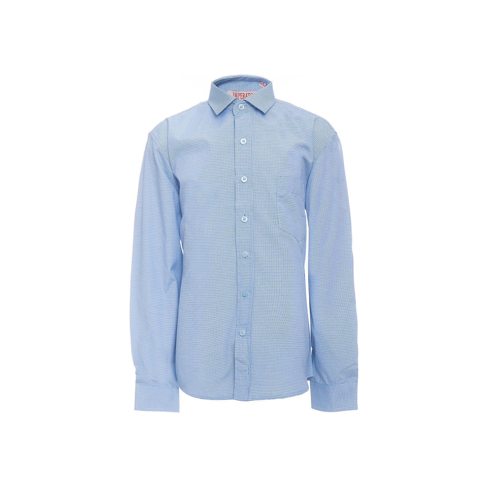 Рубашка для мальчика ImperatorБлузки и рубашки<br>Характеристики товара:<br><br>• цвет: голубой<br>• состав ткани: 65% хлопок, 35% полиэстер<br>• особенности: школьная, праздничная<br>• застежка: пуговицы<br>• рукава: длинные<br>• сезон: круглый год<br>• страна бренда: Российская Федерация<br>• страна изготовитель: Китай<br><br>Сорочка классического кроя для мальчика - отличный вариант практичной и стильной школьной одежды.<br><br>Накладной карман, свободный покрой, дышащая ткань с преобладанием хлопка - красиво и удобно.<br><br>Рубашку для мальчика Imperator (Император) можно купить в нашем интернет-магазине.<br><br>Ширина мм: 174<br>Глубина мм: 10<br>Высота мм: 169<br>Вес г: 157<br>Цвет: синий<br>Возраст от месяцев: 120<br>Возраст до месяцев: 132<br>Пол: Мужской<br>Возраст: Детский<br>Размер: 146/152,152/158,152/158,158/164,164/170,122/128,128/134,134/140,140/146,146/152<br>SKU: 6860787