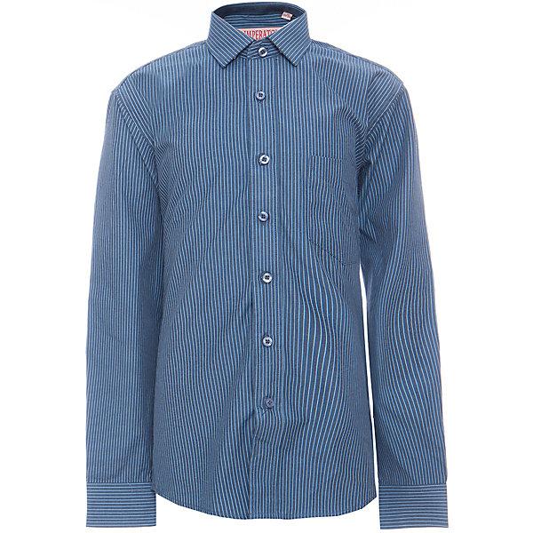 Рубашка для мальчика ImperatorБлузки и рубашки<br>Характеристики товара:<br><br>• цвет: синий<br>• состав ткани: 65% хлопок, 35% полиэстер<br>• особенности: школьная, праздничная<br>• застежка: пуговицы<br>• рукава: длинные<br>• сезон: круглый год<br>• страна бренда: Российская Федерация<br>• страна изготовитель: Китай<br><br>Стильная классическая сорочка для мальчика - отличный вариант практичной и стильной школьной одежды.<br><br>Накладной карман, свободный покрой, дышащая ткань с преобладанием хлопка - красиво и удобно.<br><br>Рубашку для мальчика Imperator (Император) можно купить в нашем интернет-магазине.<br>Ширина мм: 174; Глубина мм: 10; Высота мм: 169; Вес г: 157; Цвет: синий; Возраст от месяцев: 132; Возраст до месяцев: 144; Пол: Мужской; Возраст: Детский; Размер: 152/158,164/170,158/164,152/158,146/152,146/152,140/146,134/140,128/134,122/128; SKU: 6860798;