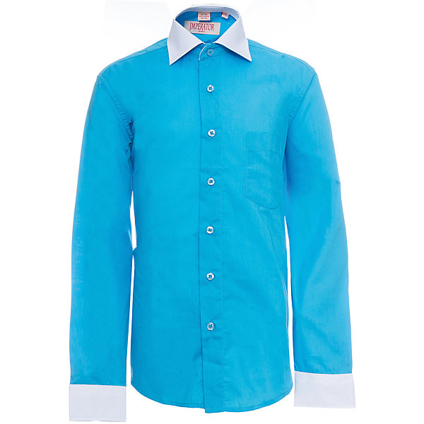 Рубашка для мальчика ImperatorБлузки и рубашки<br>Характеристики товара:<br><br>• цвет: бирюзовый<br>• состав ткани: 55% хлопок, 45% полиэстер<br>• особенности: школьная, праздничная<br>• застежка: пуговицы<br>• рукава: длинные<br>• сезон: круглый год<br>• страна бренда: Российская Федерация<br>• страна изготовитель: Китай<br><br>Классическая сорочка для мальчика - отличный вариант практичной и стильной школьной одежды.<br><br>Накладной карман, свободный покрой, дышащая ткань с преобладанием хлопка - красиво и удобно.<br><br>Рубашку для мальчика Imperator (Император) можно купить в нашем интернет-магазине.<br>Ширина мм: 174; Глубина мм: 10; Высота мм: 169; Вес г: 157; Цвет: голубой; Возраст от месяцев: 120; Возраст до месяцев: 132; Пол: Мужской; Возраст: Детский; Размер: 146/152,152/158,164/170,146/152,140/146,134/140,128/134,122/128,158/164,152/158; SKU: 6860831;