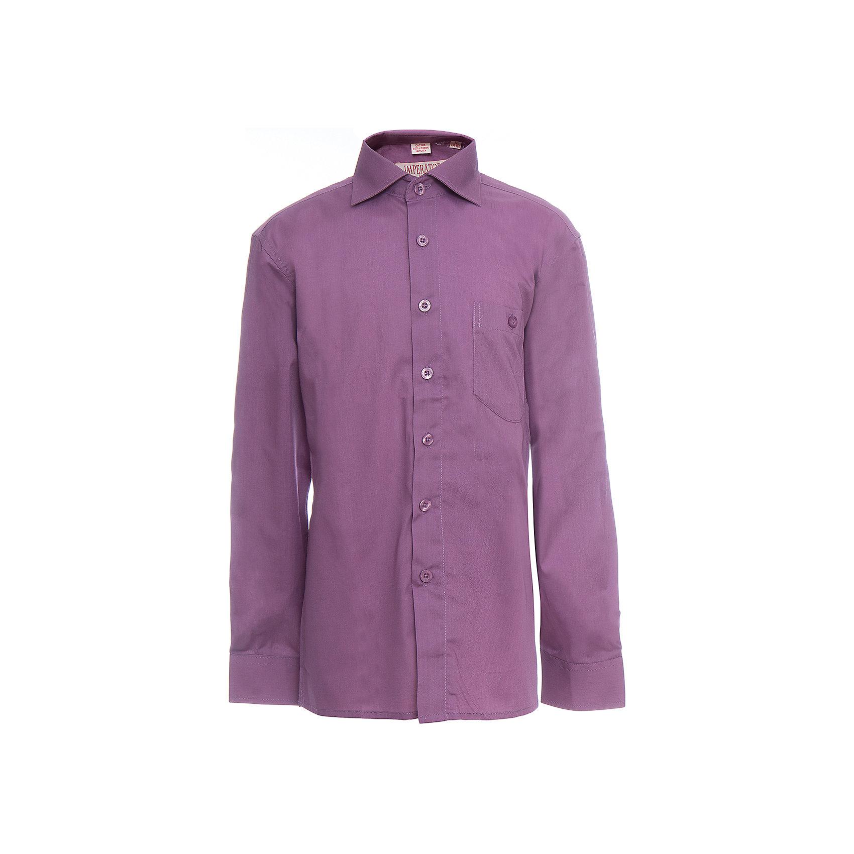 Рубашка для мальчика ImperatorБлузки и рубашки<br>Характеристики товара:<br><br>• цвет: фиолетовый<br>• состав ткани: 55% хлопок, 45% полиэстер<br>• особенности: школьная, праздничная<br>• застежка: пуговицы<br>• рукава: длинные<br>• сезон: круглый год<br>• страна бренда: Российская Федерация<br>• страна изготовитель: Китай<br><br>Стильная классическая сорочка для мальчика - отличный вариант практичной и стильной школьной одежды..<br><br>Накладной карман, свободный покрой, дышащая ткань с преобладанием хлопка - красиво и удобно.<br><br>Рубашку для мальчика Imperator (Император) можно купить в нашем интернет-магазине.<br><br>Ширина мм: 174<br>Глубина мм: 10<br>Высота мм: 169<br>Вес г: 157<br>Цвет: лиловый<br>Возраст от месяцев: 108<br>Возраст до месяцев: 120<br>Пол: Мужской<br>Возраст: Детский<br>Размер: 140/146,146/152,146/152,152/158,152/158,158/164,164/170,122/128,128/134,134/140<br>SKU: 6860842