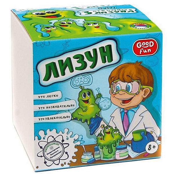 Набор для опытов Лизун, цвет зеленый, GOOD FUNХимия и физика<br>Характеристики:<br><br>• возраст: от 8 лет<br>• в наборе: поливиниловый спирт (порошок), тетраборат натрия (порошок), глицерин, краситель, пластиковый мерный стаканчик, пластиковый цветной стаканчик, перчатки, мерная ложечка, палочка для размешивания, инструкция<br>• дополнительно потребуется: стеклянная банка объемом не менее 0,5 л.<br>• для проведения опыта необходима помощь взрослых<br>• упаковка: картонная коробка<br>• размер упаковки: 12,5х12,5х12,5 см.<br>• вес: 200 гр.<br><br>Набор для опытов «Лизун» позволит ребенку не только весело и с пользой провести время за приготовлением популярной во всем мире игрушки - лизуна, но и познакомится с веществами, которые обладают необычными свойствами - полимерами.<br><br>В набор входят реактивы и приспособления для изготовления трех больших лизунов зеленого цвета, которые затем можно соединить в один гигантский весом около 400 граммов. Готовый лизун может принимать ту форму, в которую его поместят, он отлично отделяется от поверхностей и кожи, оставаясь пластичным и вязким.<br><br>Набор для опытов «Лизун» от GOOD FUN (ГУД ФАН) – это легко, познавательно и увлекательно.<br><br>Набор для опытов Лизун, цвет зеленый, GOOD FUN (ГУД ФАН) можно купить в нашем интернет-магазине.<br>Ширина мм: 125; Глубина мм: 125; Высота мм: 125; Вес г: 250; Возраст от месяцев: 96; Возраст до месяцев: 2147483647; Пол: Унисекс; Возраст: Детский; SKU: 6863122;