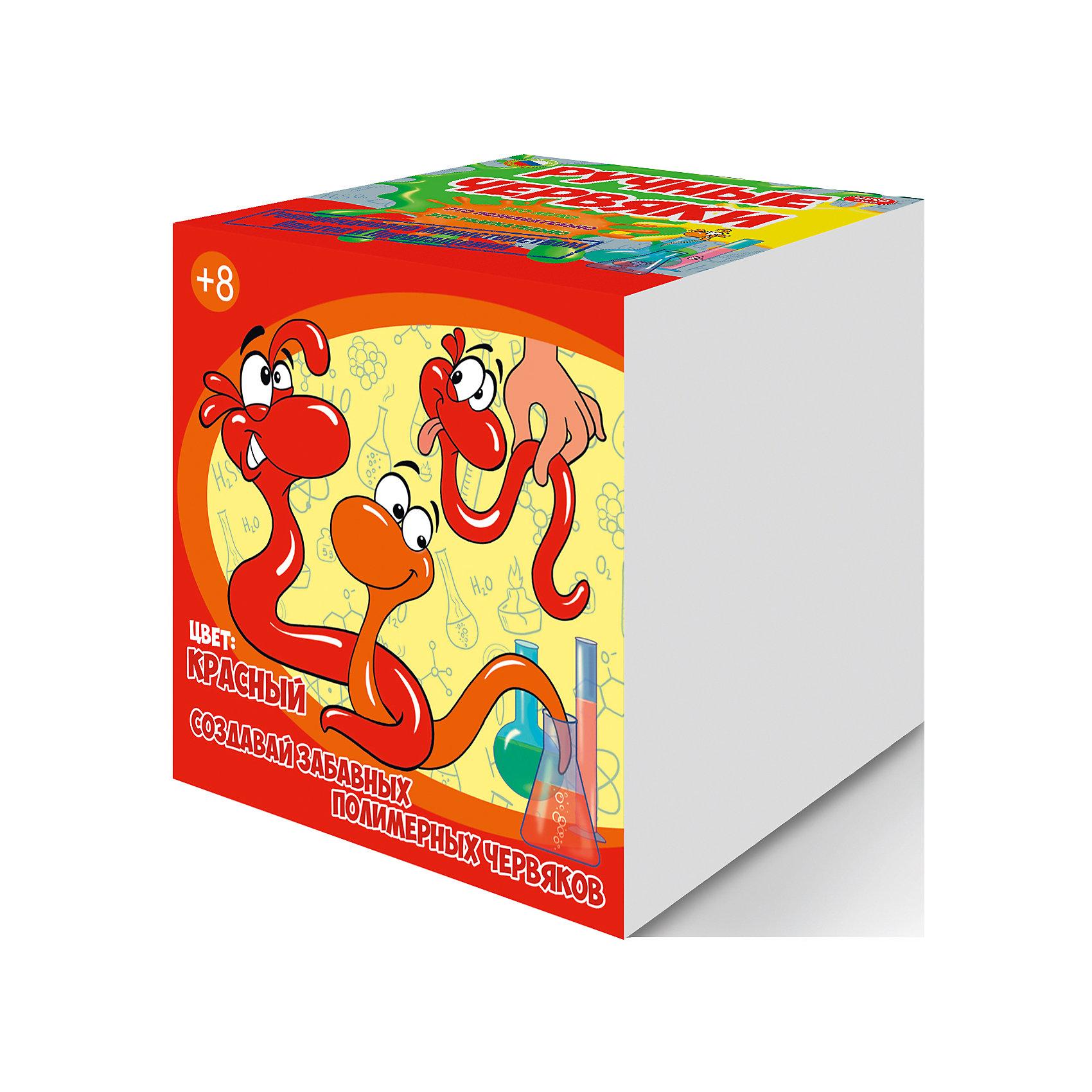 Набор для опытов Цветные полимерные червяки, цвет красный, GOOD FUNЭксперименты и опыты<br>Скучная химия? Не, не слышали. С наборами Good Fun вы сможете «нахимичить» не какой-то мифический раствор, а настоящих лизунов.<br><br>Взрослые наверняка помнят эту мерзкую прекрасную игрушку из постсоветского детства. Хит 90-х пах бензином и собирал на себя всю пыль вселенной. Но главное, он прилипал к стенам и медленно скатывался, оставляя жирные следы.<br><br>Разочаруем вас, шедевр китайского химпрома — совсем не лизун.<br><br>Классический лизун во всем мире известен как слайм (англ. Slime). И он не шарик, а баночка с прикольной вязкой слизью, обладающей свойствами неньютоновской жидкости. О как! Если слайм оставить в покое, он начинает растекаться по поверхности, но потом легко собирается рукой.<br><br>Игрушка впервые выпущена компанией Mattel в 1976 году. По легенде, слайм изобрела 11-летняя девочка, дочь хозяина завода, которая случайно смешала имеющиеся на заводе ингредиенты. Вот так взяла и случайно смешала, с кем не бывает.<br><br>Бурная популярность пришла к слайму после выхода на экраны «Охотников за привидениями». В чудаковатом зеленом призраке из фильма зрители увидели знакомую игрушку.<br><br>Теперь легендарного лизуна можно сотворить своими рукам. Набор Good Fun содержит все необходимое для приготовления трех больших лизунов. Затем их можно соединить в один гигантский весом около 400 граммов! <br><br>В комплекте<br><br>    Поливиниловый спирт (порошок)<br>    Тетраборат натрия (порошок)<br>    Глицерин<br>    Краситель<br>    Пластиковый мерный стаканчик<br>    Пластиковый цветной стаканчик<br>    Перчатки<br>    Мерная ложечка<br>    Палочка для размешивания<br><br>Дополнительно потребуется стеклянная банка объемом не менее 0,5 л.<br><br>Эти удивительные полимеры<br><br>Данный набор познакомит ребенка с самыми необычными веществами — полимерами. Их уникальные свойства обусловлены строением молекул, соединенных в длинные цепочки (макромолекулы).<br><br>Когда вы 