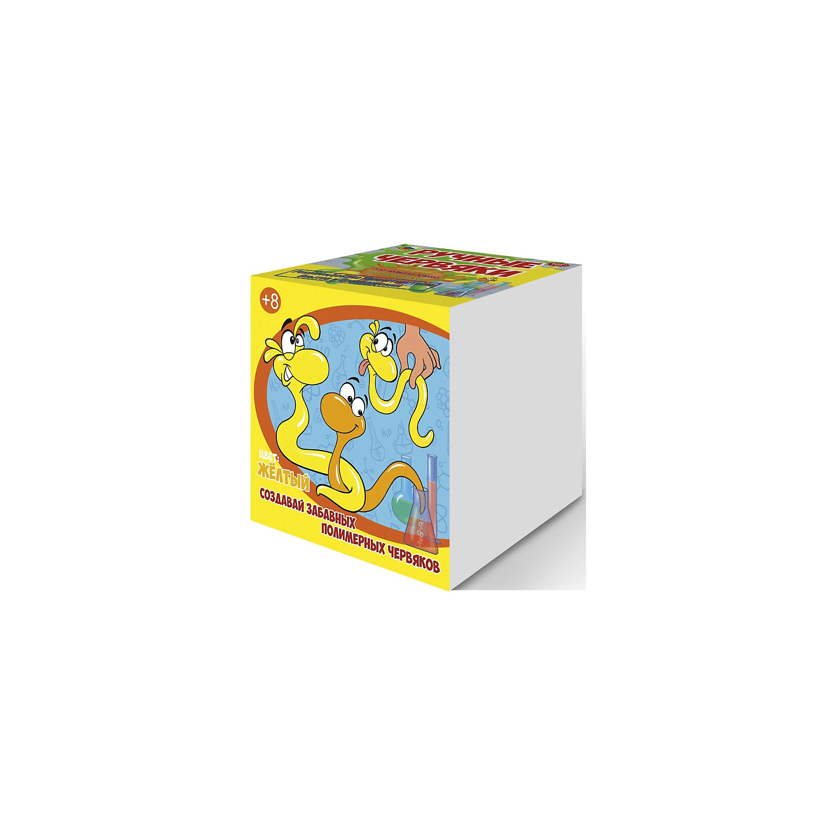Набор для опытов Цветные полимерные червяки, цвет желтый, GOOD FUNЭксперименты и опыты<br>Скучная химия? Не, не слышали. С наборами Good Fun вы сможете «нахимичить» не какой-то мифический раствор, а настоящих лизунов.<br><br>Взрослые наверняка помнят эту мерзкую прекрасную игрушку из постсоветского детства. Хит 90-х пах бензином и собирал на себя всю пыль вселенной. Но главное, он прилипал к стенам и медленно скатывался, оставляя жирные следы.<br><br>Разочаруем вас, шедевр китайского химпрома — совсем не лизун.<br><br>Классический лизун во всем мире известен как слайм (англ. Slime). И он не шарик, а баночка с прикольной вязкой слизью, обладающей свойствами неньютоновской жидкости. О как! Если слайм оставить в покое, он начинает растекаться по поверхности, но потом легко собирается рукой.<br><br>Игрушка впервые выпущена компанией Mattel в 1976 году. По легенде, слайм изобрела 11-летняя девочка, дочь хозяина завода, которая случайно смешала имеющиеся на заводе ингредиенты. Вот так взяла и случайно смешала, с кем не бывает.<br><br>Бурная популярность пришла к слайму после выхода на экраны «Охотников за привидениями». В чудаковатом зеленом призраке из фильма зрители увидели знакомую игрушку.<br><br>Теперь легендарного лизуна можно сотворить своими рукам. Набор Good Fun содержит все необходимое для приготовления трех больших лизунов. Затем их можно соединить в один гигантский весом около 400 граммов! <br><br>В комплекте<br><br>    Поливиниловый спирт (порошок)<br>    Тетраборат натрия (порошок)<br>    Глицерин<br>    Краситель<br>    Пластиковый мерный стаканчик<br>    Пластиковый цветной стаканчик<br>    Перчатки<br>    Мерная ложечка<br>    Палочка для размешивания<br><br>Дополнительно потребуется стеклянная банка объемом не менее 0,5 л.<br><br>Эти удивительные полимеры<br><br>Данный набор познакомит ребенка с самыми необычными веществами — полимерами. Их уникальные свойства обусловлены строением молекул, соединенных в длинные цепочки (макромолекулы).<br><br>Когда вы с