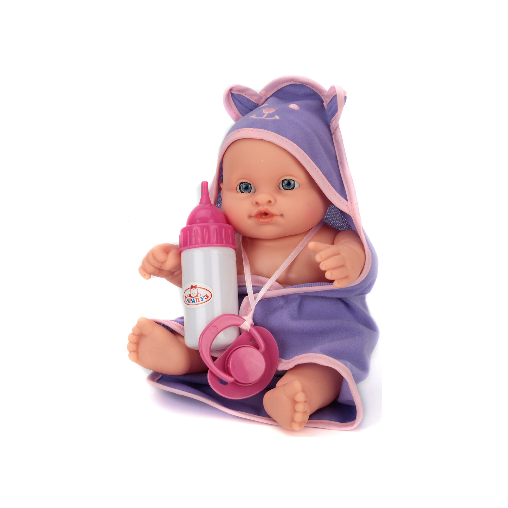Пупс 23 см, 3 функции с аксессуарами, КарапузИнтерактивные куклы<br>Игрушка выполнена в виде реалистичного малыша с выразительными голубыми глазками, пухлыми губками и вздернутым носиком. Игрушка умеет реалистично писать в горшок, если ее сначала напоить водичкой из бутылочки, предусмотренной в комплекте. У пупса подвижные ручки и ножки, поэтому ему можно придавать самые разнообразные позы в процессе игры. Тело игрушки полностью выполнено из пластика, что позволяет малышкам купать любимца в ванной и брать его с собой во время купания. В комплект входят: бутылочка, горшочек и дополнительный комплект сменной одежды.<br><br>Ширина мм: 45<br>Глубина мм: 64<br>Высота мм: 25<br>Вес г: 490<br>Возраст от месяцев: 36<br>Возраст до месяцев: 60<br>Пол: Женский<br>Возраст: Детский<br>SKU: 6863973