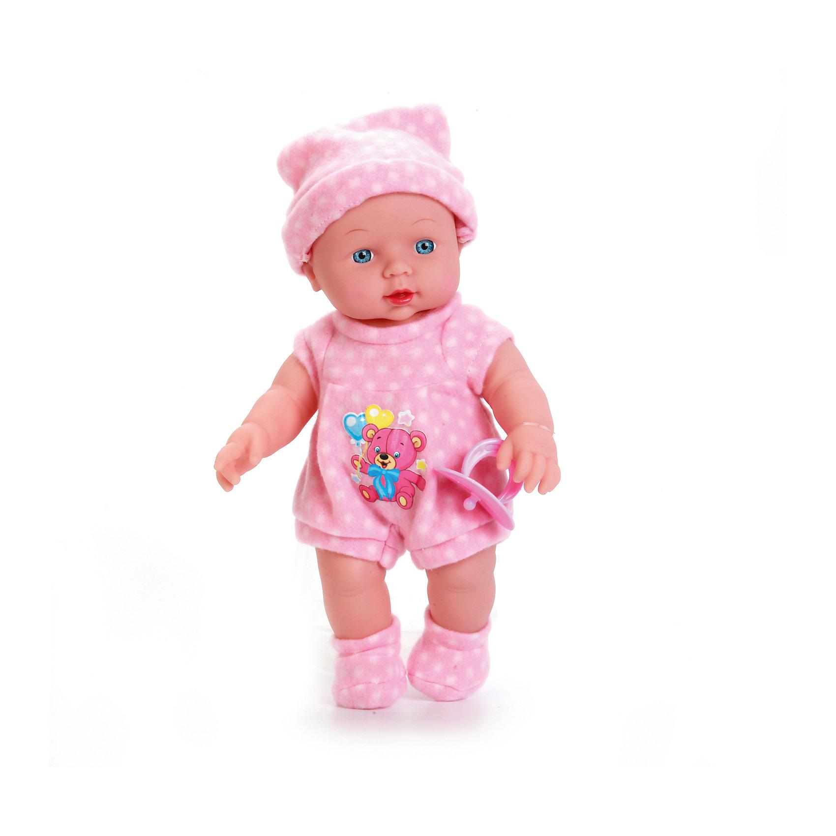 Пупс 30 см, с твердым телом, озвученный, стихи и песенка А. Барто, КарапузИнтерактивные куклы<br>Красивый пупс станет не только любимой игрушкой девочек, а также и их вымышленным ребёнком, о котором можно заботиться. Кукла выглядит очень реалистично благодаря детально проработанным складочкам на теле и выразительным чертам лица. Теплый костюмчик пупса украшен аппликацией с изображением медвежонка, а также дополнен мягкими носочками и шапочкой. Игрушка озвучена, поэтому при нажатии на животик она поет песенку «Лошадка» и стихи Агнии Барто «Бычок», «Зайка» и «Мишка». У пупса подвижные части тела (голова, ноги, руки), поэтому его можно сажать на стульчик или класть в постель.<br><br>Ширина мм: 80<br>Глубина мм: 100<br>Высота мм: 34<br>Вес г: 610<br>Возраст от месяцев: 36<br>Возраст до месяцев: 60<br>Пол: Женский<br>Возраст: Детский<br>SKU: 6863974