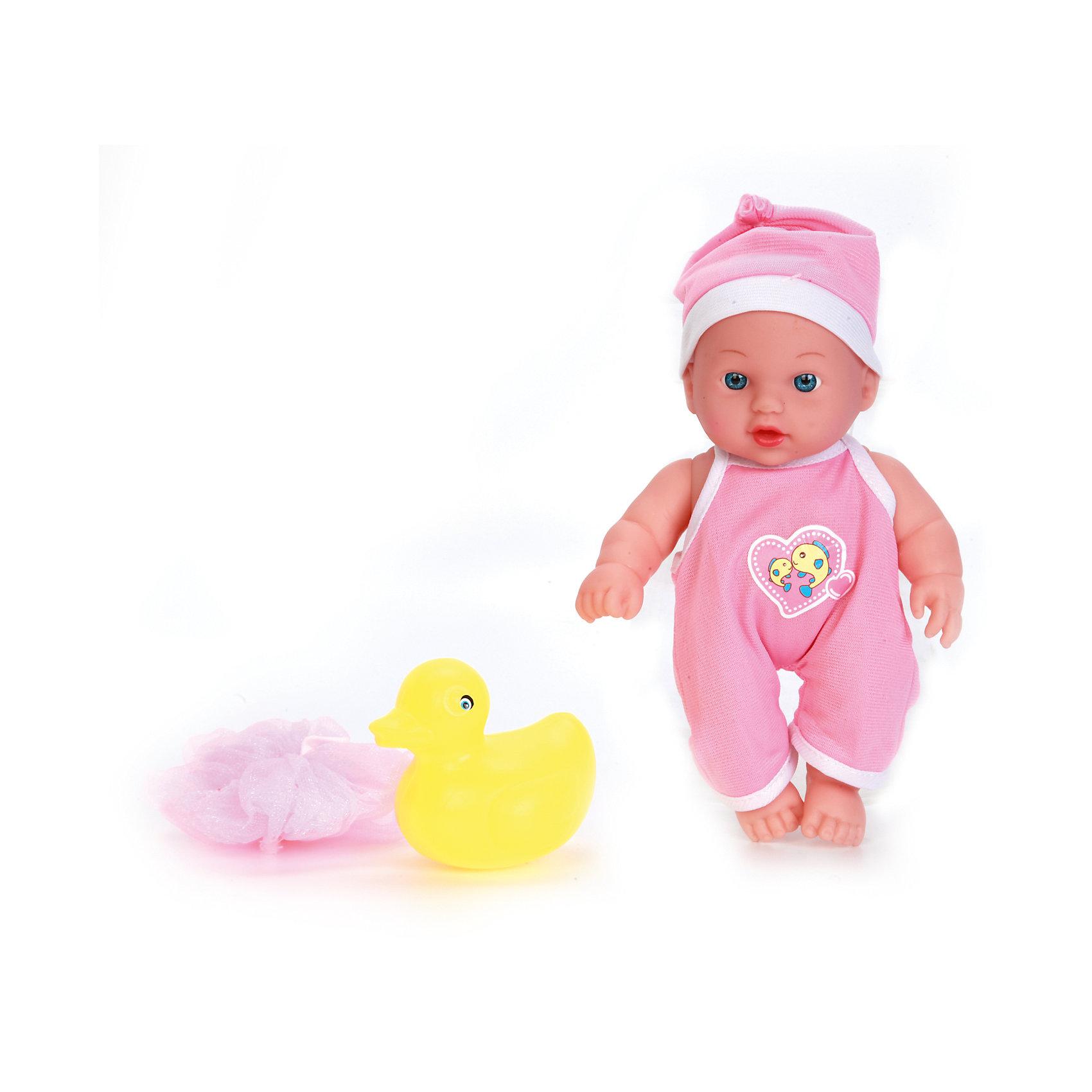 Пупс 20 см, с твердым телом, с ванночкой и аксессуарами, КарапузКуклы<br>Этот милый пупс очень похож на настоящего младенца. О нем таки и хочется позаботится. У него твердое тело, подвижные ручки и ножки. Пупс одет в костюмчик и шапочку. Его можно купать. В комплекте есть аксессуары для купания: ванночка, игрушка и мочалка.<br><br>Ширина мм: 91<br>Глубина мм: 98<br>Высота мм: 37<br>Вес г: 340<br>Возраст от месяцев: 36<br>Возраст до месяцев: 60<br>Пол: Женский<br>Возраст: Детский<br>SKU: 6863975