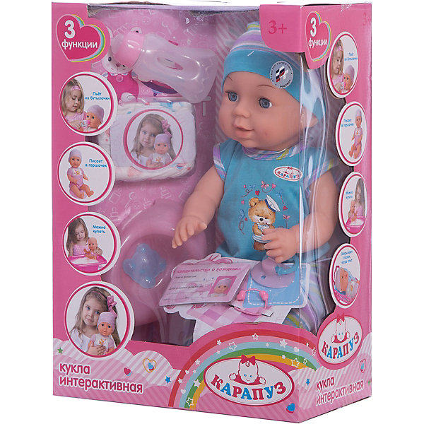 Пупс 40 см, 3 функции, с аксессуарами, КарапузБренды кукол<br>Характеристики товара:<br><br>• возраст: от 3 лет;<br>• материал: пластик, текстиль;<br>• в комплекте: пупс, аксессуары;<br>• высота куклы: 40 см;<br>• размер упаковки: 39х28х16 см;<br>• вес упаковки: 1,1 кг;<br>• страна производитель: Китай.<br><br>Пупс Карапуз 40 см, 3 функции — очаровательный малыш с выразительными глазками и пухлыми щечками. Пупс одет в полосатые штанишки, голубую футболочку и шапочку. Малыша можно напоить из бутылочки, но затем не забыть посадить его на горшок, чтобы он пописал. <br><br>Так как у куклы пластиковое тельце, то ее можно купать и брать с собой в ванную. У пупса подвижные ручки и ножки. Игра с куклой привьет девочке чувство ответственности и  заботы.<br><br>Пупса Карапуз 40 см, 3 функции можно приобрести в нашем интернет-магазине.<br>Ширина мм: 79; Глубина мм: 57; Высота мм: 33; Вес г: 1100; Возраст от месяцев: 36; Возраст до месяцев: 60; Пол: Женский; Возраст: Детский; SKU: 6863980;