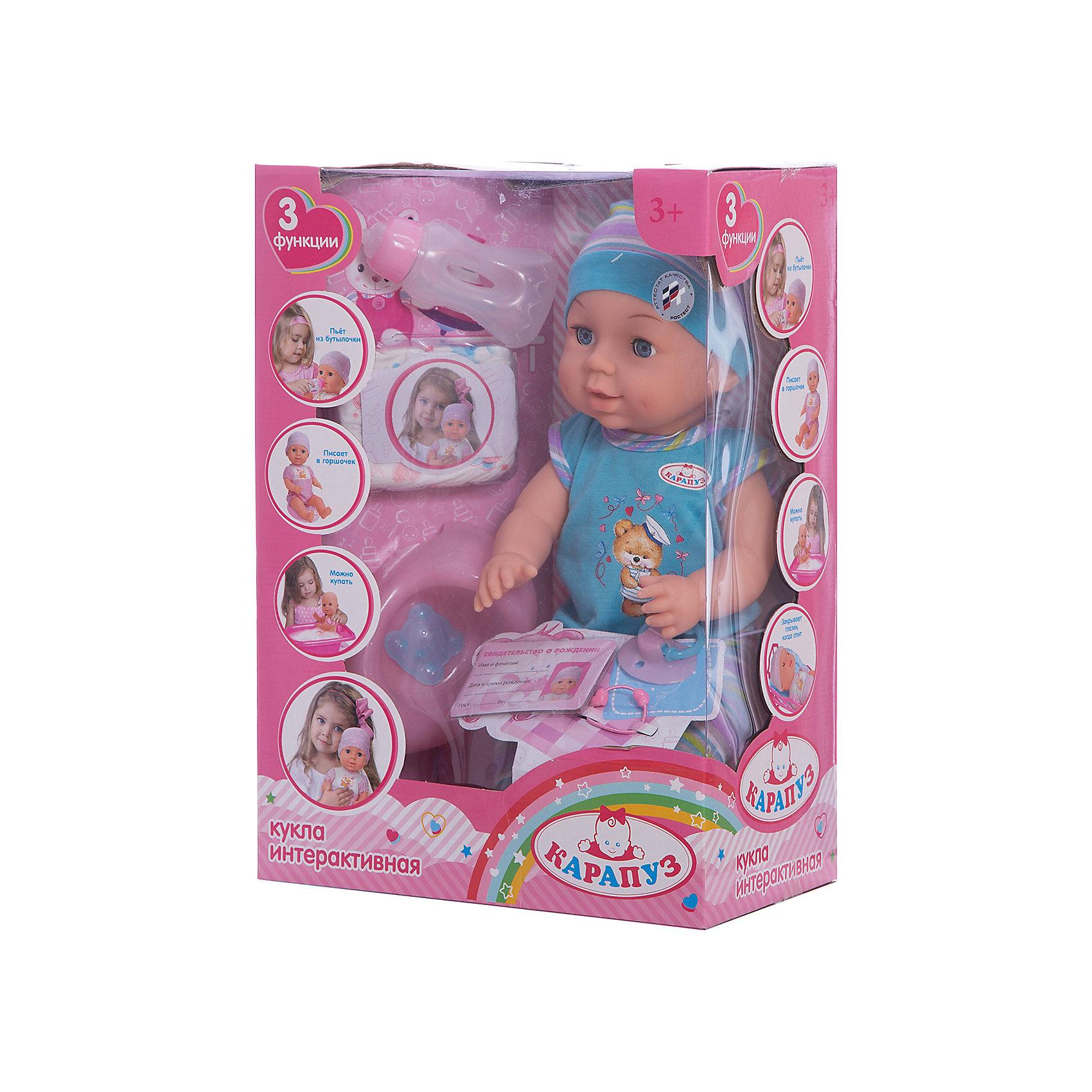 Пупс 40 см, 3 функции, с аксессуарами, КарапузКуклы-пупсы<br>Игрушка выполнена в виде реалистичного малыша с выразительными голубыми глазками, пухлыми губками и вздернутым носиком. Игрушка умеет реалистично писать в горшок, если ее сначала напоить водичкой из бутылочки, предусмотренной в комплекте. У пупса подвижные ручки и ножки, поэтому ему можно придавать самые разнообразные позы в процессе игры. Тело игрушки полностью выполнено из пластика, что позволяет малышкам купать любимца в ванной и брать его с собой во время купания.<br><br>Ширина мм: 79<br>Глубина мм: 57<br>Высота мм: 33<br>Вес г: 1100<br>Возраст от месяцев: 36<br>Возраст до месяцев: 60<br>Пол: Женский<br>Возраст: Детский<br>SKU: 6863980