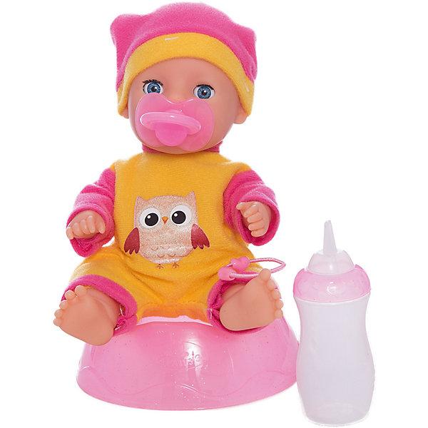 Пупс 20 см, 3 функции, с аксессуарами, КарапузБренды кукол<br>Характеристики товара:<br><br>• возраст: от 3 лет;<br>• материал: пластик, текстиль;<br>• в комплекте: пупс, бутылочка, горшок, дополнительный комплект одежды;<br>• высота куклы: 20 см;<br>• размер упаковки: 24х22х14 см;<br>• вес упаковки: 480 гр.;<br>• страна производитель: Китай.<br><br>Пупс Карапуз 20 см, 3 функции — очаровательный малыш с выразительными глазками и пухлыми щечками. Пупс одет в желтый костюмчик и шапочку. Малыша можно напоить из бутылочки, но затем не забыть посадить его на горшок, чтобы он пописал. <br><br>Так как у куклы пластиковое тельце, то ее можно купать и брать с собой в ванную. У пупса подвижные ручки и ножки. Игра с куклой привьет девочке чувство ответственности и  заботы.<br><br>Пупса Карапуз 20 см, 3 функции можно приобрести в нашем интернет-магазине.<br><br>Ширина мм: 49<br>Глубина мм: 72<br>Высота мм: 45<br>Вес г: 480<br>Возраст от месяцев: 36<br>Возраст до месяцев: 60<br>Пол: Женский<br>Возраст: Детский<br>SKU: 6863981