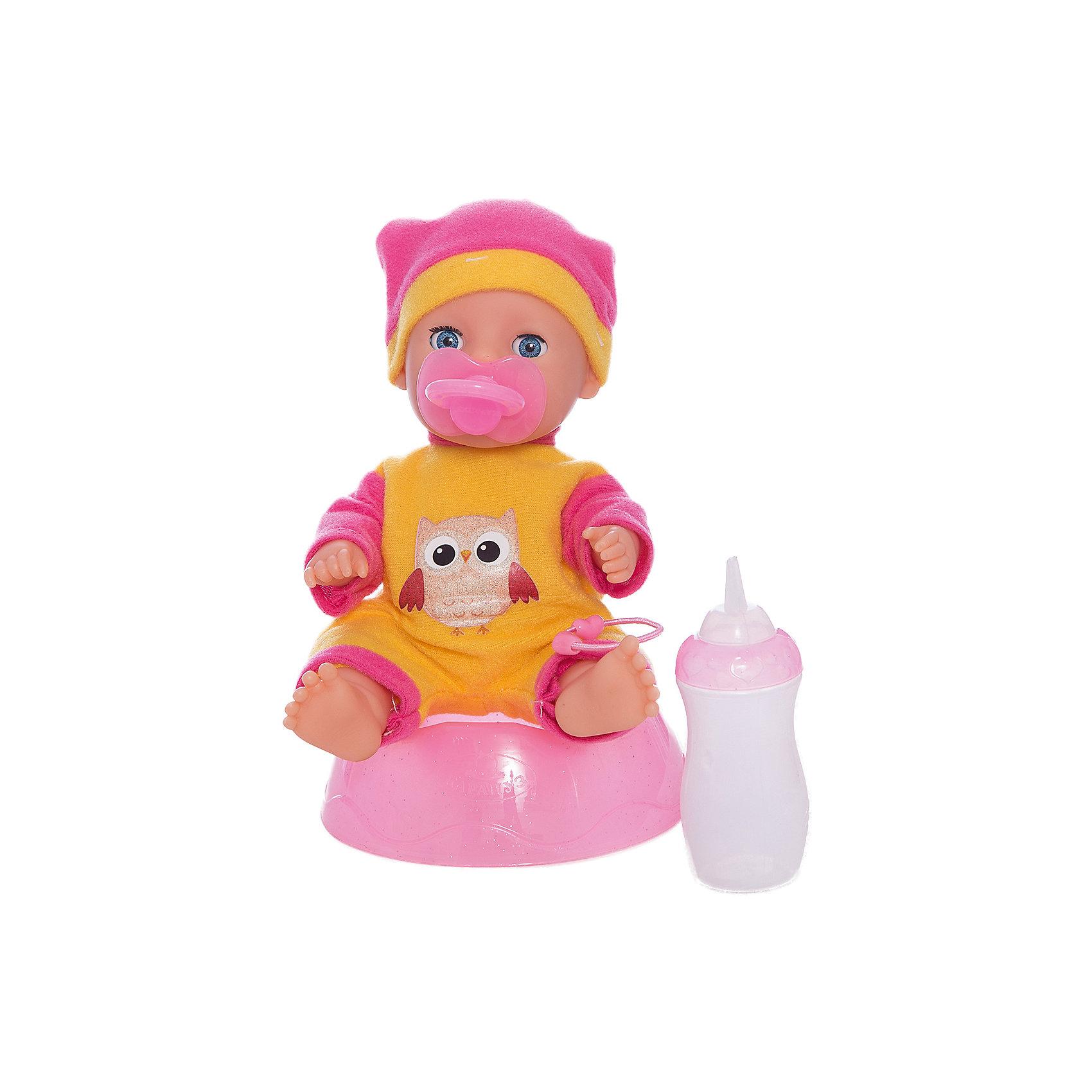 Пупс 20 см, 3 функции, с аксессуарами, КарапузИнтерактивные куклы<br>Игрушка выполнена в виде реалистичного малыша с выразительными голубыми глазками, пухлыми губками и вздернутым носиком. Игрушка умеет реалистично писать в горшок, если ее сначала напоить водичкой из бутылочки, предусмотренной в комплекте. У пупса подвижные ручки и ножки, поэтому ему можно придавать самые разнообразные позы в процессе игры. Тело игрушки полностью выполнено из пластика, что позволяет малышкам купать любимца в ванной и брать его с собой во время купания. В комплект входят: бутылочка, горшочек и дополнительный комплект сменной одежды.<br><br>Ширина мм: 49<br>Глубина мм: 72<br>Высота мм: 45<br>Вес г: 480<br>Возраст от месяцев: 36<br>Возраст до месяцев: 60<br>Пол: Женский<br>Возраст: Детский<br>SKU: 6863981