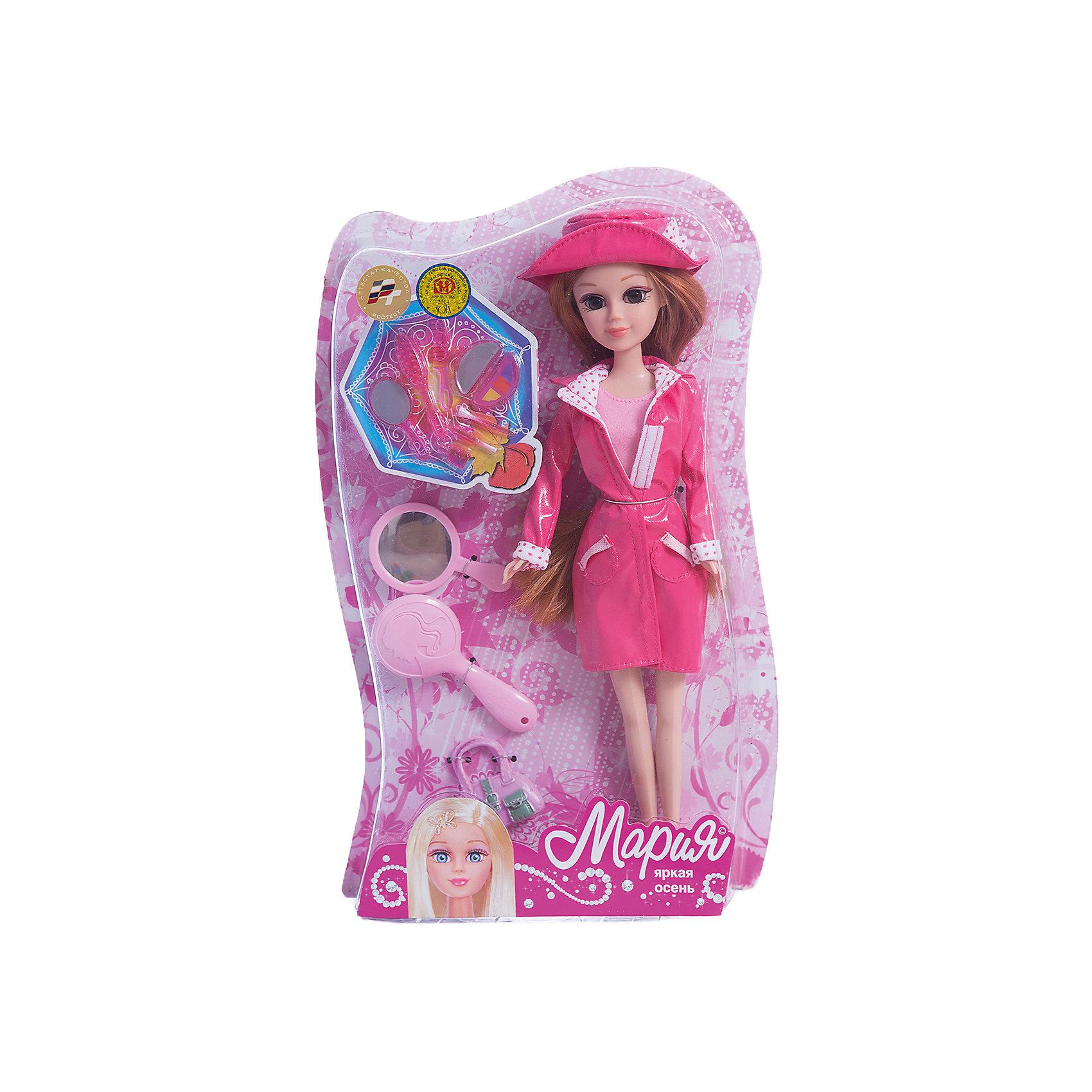 Кукла Мария 29 см Яркая осень, с аксессуарами, КарапузКуклы<br>Кукла Яркая осень Мария одета в стильную одежду сезона осень-весна, обута в розовые сапожки, на голове у нее розовая шляпа, а также имеет в комплекте несколько модных аксессуаров. Две яркие отличительные особенности этой куклы — шикарные волосы и огромные глаза. Одежду с Марии можно снять, ножки, руки и голова куклы подвижны.<br><br>Ширина мм: 39<br>Глубина мм: 70<br>Высота мм: 47<br>Вес г: 380<br>Возраст от месяцев: 36<br>Возраст до месяцев: 60<br>Пол: Женский<br>Возраст: Детский<br>SKU: 6863987