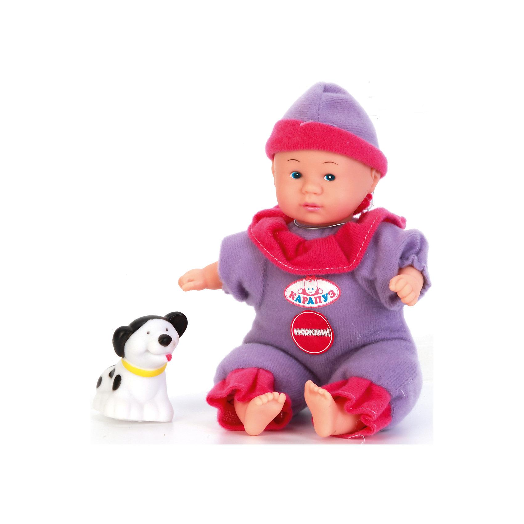 Пупс 20 см озвученный на батарейках, говорит 7 фраз, с аксессуарами, КарапузИнтерактивные куклы<br>Красивый пупс станет не только любимой игрушкой девочек, а также и их вымышленным ребёнком, о котором можно заботиться. Кукла выглядит очень реалистично благодаря детально проработанным складочкам на теле и выразительным чертам лица. Игрушка озвучена, поэтому при нажатии на грудь она произносит одну из 7 фраз. У пупса подвижные части тела (голова, ноги, руки), поэтому его можно сажать на стульчик или класть в корзинку с пелёнкой, которая предусмотрена в комплекте.<br><br>Ширина мм: 52<br>Глубина мм: 43<br>Высота мм: 71<br>Вес г: 250<br>Возраст от месяцев: 36<br>Возраст до месяцев: 60<br>Пол: Женский<br>Возраст: Детский<br>SKU: 6863991
