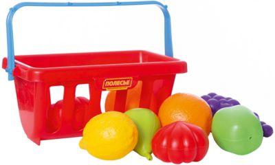 Набор продуктов с корзинкой №2, 9 элементов, красный, Полесье