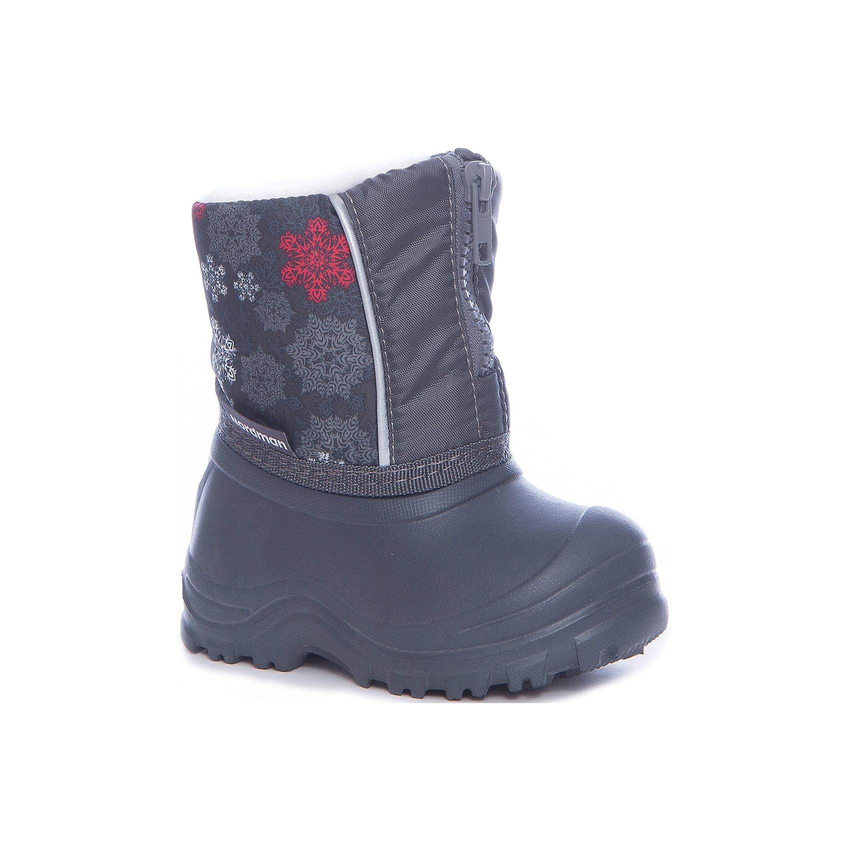 Сноубутсы для мальчика NordmanСноубутсы<br>Характеристики товара:<br><br>• цвет: черный<br>• материал верха: текстиль (dewspo)<br>• галоша: ЭВА<br>• подклад: шерстяной мех<br>• стелька: шерстяной мех<br>• подошва: ЭВА<br>• сезон: зима<br>• температурный режим: от 0 до -15<br>• застежка: молния<br>• непромокаемые<br>• подошва не скользит<br>• анатомические <br>• страна бренда: Россия<br>• страна изготовитель: Россия<br><br>Сноубутсы для мальчика Nordman позволяют сохранить ноги в тепле и одновременно не дают им промокнуть. Такая обувь отлично подходит для снежной зимы или слякоти в межсезонье. <br><br>Высокое голенище из непромокаемой ткани предотвращает попадание снега в сапог. Меховая подкладка обеспечивает комфортные условия для ног благодаря способности материала впитывать влагу.<br><br>Сноубутсы для мальчика Nordman (Нордман) можно купить в нашем интернет-магазине.<br><br>Ширина мм: 257<br>Глубина мм: 180<br>Высота мм: 130<br>Вес г: 420<br>Цвет: серый<br>Возраст от месяцев: 132<br>Возраст до месяцев: 144<br>Пол: Мужской<br>Возраст: Детский<br>Размер: 34/35,24/25,26/27,28/29,30/31,20/21,32/33,22/23<br>SKU: 6867188
