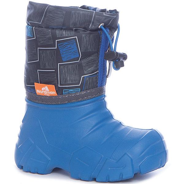 Сноубутсы для мальчика NordmanСноубутсы<br>Характеристики товара:<br><br>• цвет: синий<br>• материал верха: текстиль (таслан)<br>• подклад: шерстяной мех<br>• стелька: шерстяной мех<br>• галоша: ЭВА<br>• сезон: зима<br>• температурный режим: от 0 до -15<br>• застежка: молния, утяжка<br>• непромокаемые<br>• подошва не скользит<br>• анатомические <br>• страна бренда: Россия<br>• страна изготовитель: Россия<br><br>Сноубутсы для мальчика Nordman позволяют сохранить ноги в тепле и одновременно не дают им промокнуть. Такая обувь отлично подходит для снежной зимы или слякоти в межсезонье. <br><br>Высокое голенище из непромокаемой ткани с утяжкой предотвращает попадание снега в сапог. Меховая подкладка обеспечивает комфортные условия для ног благодаря способности материала впитывать влагу.<br><br>Сноубутсы для мальчика Nordman (Нордман) можно купить в нашем интернет-магазине.<br><br>Ширина мм: 257<br>Глубина мм: 180<br>Высота мм: 130<br>Вес г: 420<br>Цвет: синий<br>Возраст от месяцев: 18<br>Возраст до месяцев: 21<br>Пол: Мужской<br>Возраст: Детский<br>Размер: 22/23,34/35,32/33,30/31,28/29,26/27,24/25<br>SKU: 6867221