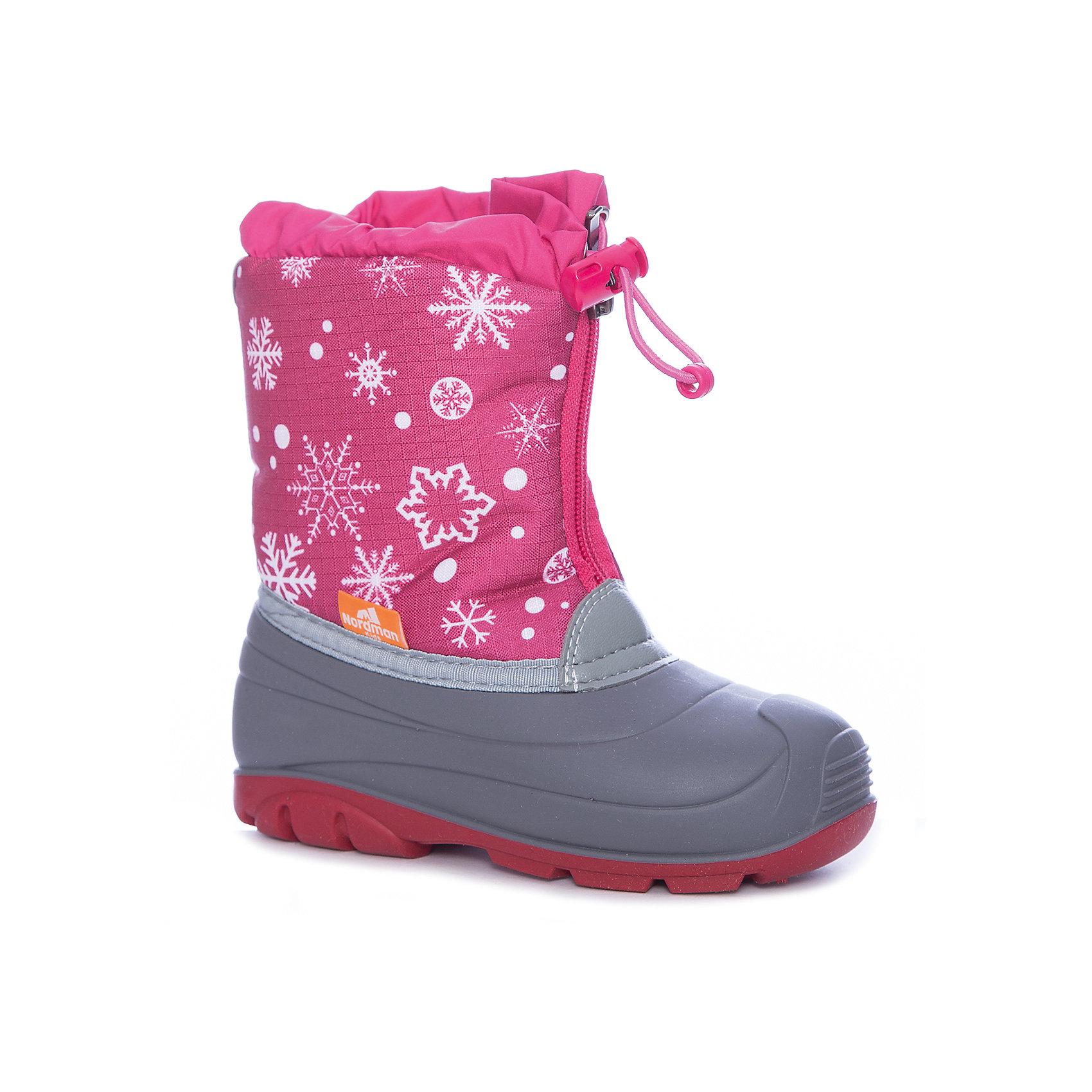 Сноубутсы для девочки NordmanСноубутсы<br>Характеристики товара:<br><br>• цвет: розовый<br>• материал верха: текстиль (oxford)<br>• подклад: шерстяной мех<br>• стелька: шерстяной мех<br>• подошва: ТЭП<br>• сезон: зима<br>• температурный режим: от +7 до -10<br>• застежка: молния, утяжка<br>• непромокаемые<br>• подошва не скользит<br>• анатомические <br>• страна бренда: Россия<br>• страна изготовитель: Россия<br><br>Сноубутсы для девочки Nordman позволяют сохранить ноги в тепле и одновременно не дают им промокнуть. Такая обувь отлично подходит для снежной зимы или слякоти в межсезонье. <br><br>Высокое голенище из непромокаемой ткани с утяжкой предотвращает попадание снега в сапог. Меховая подкладка обеспечивает комфортные условия для ног благодаря способности материала впитывать влагу.<br><br>Сноубутсы для девочки Nordman (Нордман) можно купить в нашем интернет-магазине.<br><br>Ширина мм: 257<br>Глубина мм: 180<br>Высота мм: 130<br>Вес г: 420<br>Цвет: розовый<br>Возраст от месяцев: 60<br>Возраст до месяцев: 72<br>Пол: Женский<br>Возраст: Детский<br>Размер: 29,23,24,25,26,27,28<br>SKU: 6867269