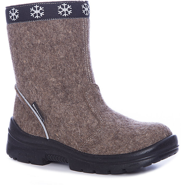 Валенки  NordmanВаленки<br>Характеристики товара:<br><br>• цвет: коричневый<br>• материал верха: текстиль (войлок)<br>• подклад: шерстяной мех<br>• стелька: шерстяной мех<br>• подошва: полиуретан<br>• сезон: зима<br>• температурный режим: от 0 до -30<br>• застежка: молния<br>• защита мыса<br>• подошва не скользит<br>• анатомические <br>• страна бренда: Россия<br>• страна изготовитель: Россия<br><br>Валенки Nordman позволяют сохранить ноги в тепле, а литая высокая полиуретановая подошва одновременно не дать им промокнуть и обеспечивает дополнительную защиту от холода. Такая обувь отлично подходит для морозной зимы. <br><br>Антискользящий протектор позволяет детям увереннее держаться на ногах даже в гололед. Меховая подкладка обеспечивает комфортные условия для ног благодаря способности материала впитывать влагу. Стелька из меха легко вынимается и быстро сохнет.<br><br>Валенки Nordman (Нордман) можно купить в нашем интернет-магазине.<br><br>Ширина мм: 257<br>Глубина мм: 180<br>Высота мм: 130<br>Вес г: 420<br>Цвет: коричневый<br>Возраст от месяцев: 36<br>Возраст до месяцев: 48<br>Пол: Унисекс<br>Возраст: Детский<br>Размер: 27,35,34,33,32,31,30,29,28<br>SKU: 6867323