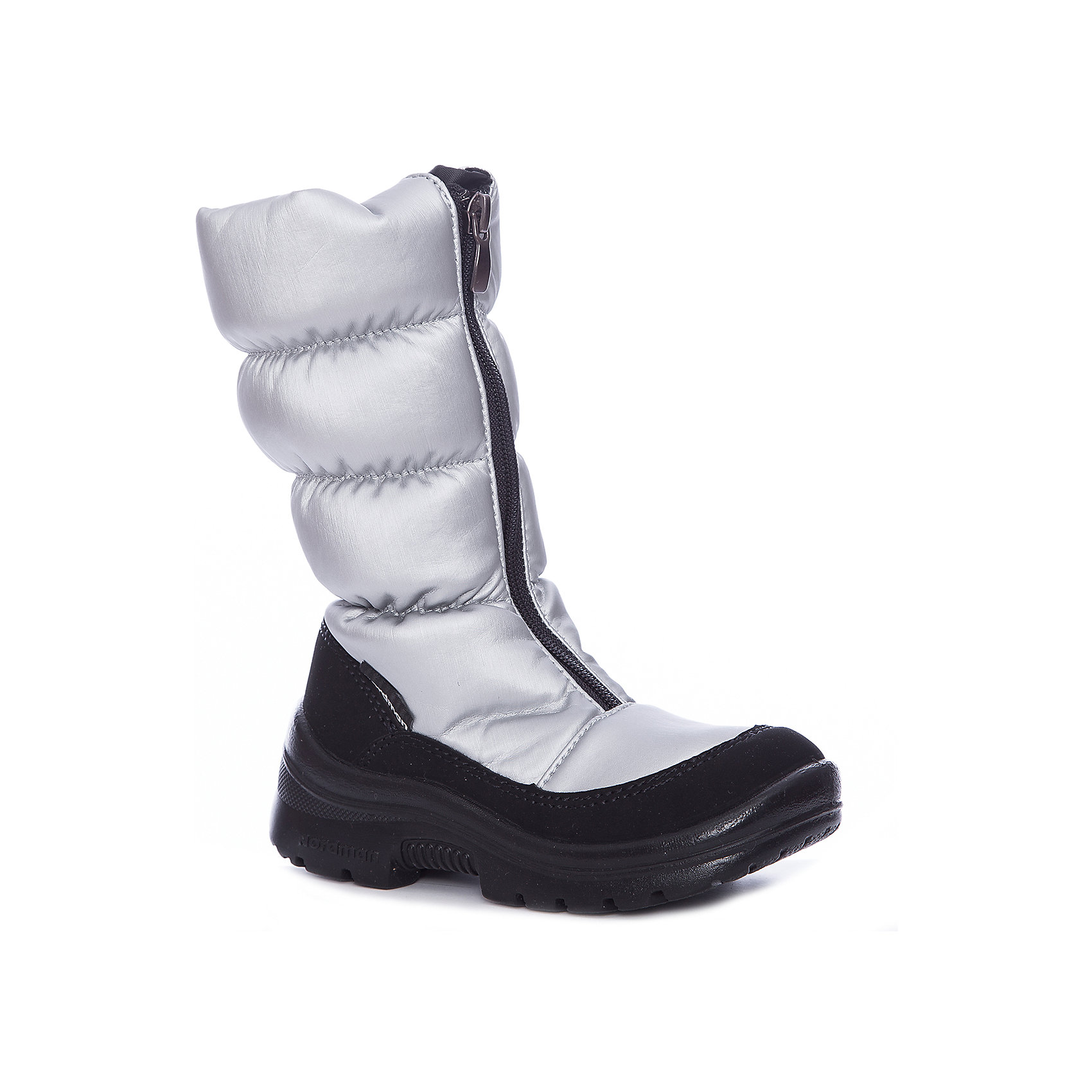 Сапоги для девочки NordmanДутики<br>Характеристики товара:<br><br>• цвет: серый<br>• материал верха: текстиль <br>• подклад: шерстяной мех<br>• стелька: шерстяной мех<br>• подошва: ЭВА<br>• сезон: зима<br>• температурный режим: от 0 до -20<br>• застежка: молния<br>• подошва не скользит<br>• анатомические <br>• страна бренда: Россия<br>• страна изготовитель: Россия<br><br>Сапоги для девочки Nordman позволяют сохранить ноги в тепле и одновременно не дают им промокнуть. Такая обувь отлично подходит для снежной зимы или слякоти в межсезонье. <br><br>Высокое голенище предотвращает попадание снега в сапог. Меховая подкладка обеспечивает комфортные условия для ног благодаря способности материала впитывать влагу.<br><br>Сапоги для девочки Nordman (Нордман) можно купить в нашем интернет-магазине.<br><br>Ширина мм: 257<br>Глубина мм: 180<br>Высота мм: 130<br>Вес г: 420<br>Цвет: серебряный<br>Возраст от месяцев: 156<br>Возраст до месяцев: 168<br>Пол: Женский<br>Возраст: Детский<br>Размер: 37,35,27,28,29,30,31,32,33,34,36<br>SKU: 6867461