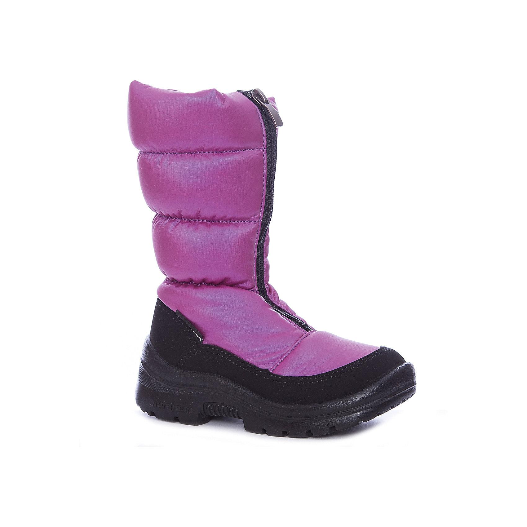 Сапоги для девочки NordmanДутики<br>Характеристики товара:<br><br>• цвет: фиолетовый<br>• материал верха: текстиль <br>• подклад: шерстяной мех<br>• стелька: шерстяной мех<br>• подошва: ЭВА<br>• сезон: зима<br>• температурный режим: от 0 до -20<br>• застежка: молния<br>• подошва не скользит<br>• анатомические <br>• страна бренда: Россия<br>• страна изготовитель: Россия<br><br>Сапоги для девочки Nordman позволяют сохранить ноги в тепле и одновременно не дают им промокнуть. Такая обувь отлично подходит для снежной зимы или слякоти в межсезонье. <br><br>Высокое голенище предотвращает попадание снега в сапог. Меховая подкладка обеспечивает комфортные условия для ног благодаря способности материала впитывать влагу.<br><br>Сапоги для девочки Nordman (Нордман) можно купить в нашем интернет-магазине.<br><br>Ширина мм: 257<br>Глубина мм: 180<br>Высота мм: 130<br>Вес г: 420<br>Цвет: лиловый<br>Возраст от месяцев: 84<br>Возраст до месяцев: 96<br>Пол: Женский<br>Возраст: Детский<br>Размер: 31,27,28,29,30<br>SKU: 6867473