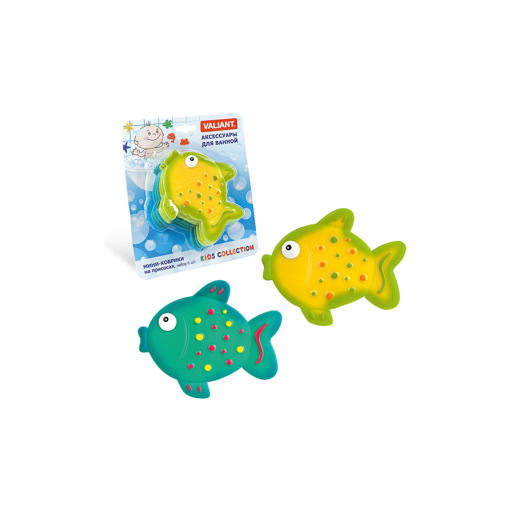 Мини-коврик для ванной комнаты Рыбки на присосках, 6 шт., VALIANT, бирюзовы/жёлтыйВанная комната<br>Мини-коврик для ванной комнаты РЫБКИ (на присосах), набор 6 шт., бирюзовый+жёлтый.В наборе 6 мини-ковриков, по 3 штуки каждого цвета!<br><br>Ширина мм: 170<br>Глубина мм: 48<br>Высота мм: 200<br>Вес г: 190<br>Возраст от месяцев: 36<br>Возраст до месяцев: 72<br>Пол: Унисекс<br>Возраст: Детский<br>SKU: 6868568