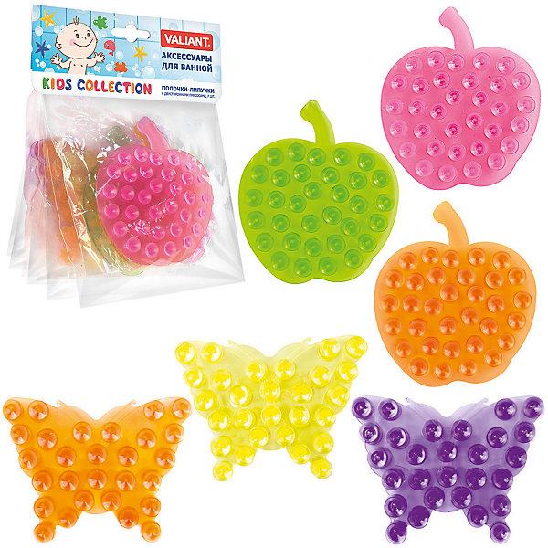 Набор полочек-липучек с двусторонними присосками Бабочки и Яблочки Микс, 6 шт., VALIANTАксессуары для ванны<br>Характеристики товара:<br><br>• возраст: от 3 лет;<br>• вес упаковки: 210 гр.;<br>• размер упаковки: 16х13х6 см.;<br>• количество в упаковке: 6 шт.;<br>• размер полочки-липучки: 10х8 см.;<br>• цвет: микс;<br>• состав: винил с антибактериальными компонентами;<br>• страна бренда:Великобритания;<br>• страна-производитель: Китай.<br><br>Набор полочек-липучек с двусторонними присосками «Бабочки-Яблочки»  состоит из 6 разноцветных фигурных полочек-липучек, которые станут ярким и оригинальным аксессуаром для ванной комнаты. Они имеет двусторонние присоски, благодаря которым легко и надежно удерживает различные предметы: шампуни, гели, мыло и так далее на любой гладкой поверхности.<br><br>Аксессуары VALIANT  незаменимы при купании маленького ребенка, помогут вам сделать этот процесс не только очень веселым, но и более безопасным. Полочки-липучки выполненны из высокачественного гипоаллергенного материала безвредного для детского здоровья.<br><br>Набор полочек-липучек с двусторонними присосками «Бабочки-Яблочки», 6 шт., VALIANT (Валиант)  можно купить в нашем интернет-магазине.<br>Ширина мм: 160; Глубина мм: 6; Высота мм: 135; Вес г: 110; Возраст от месяцев: 36; Возраст до месяцев: 72; Пол: Унисекс; Возраст: Детский; SKU: 6868574;
