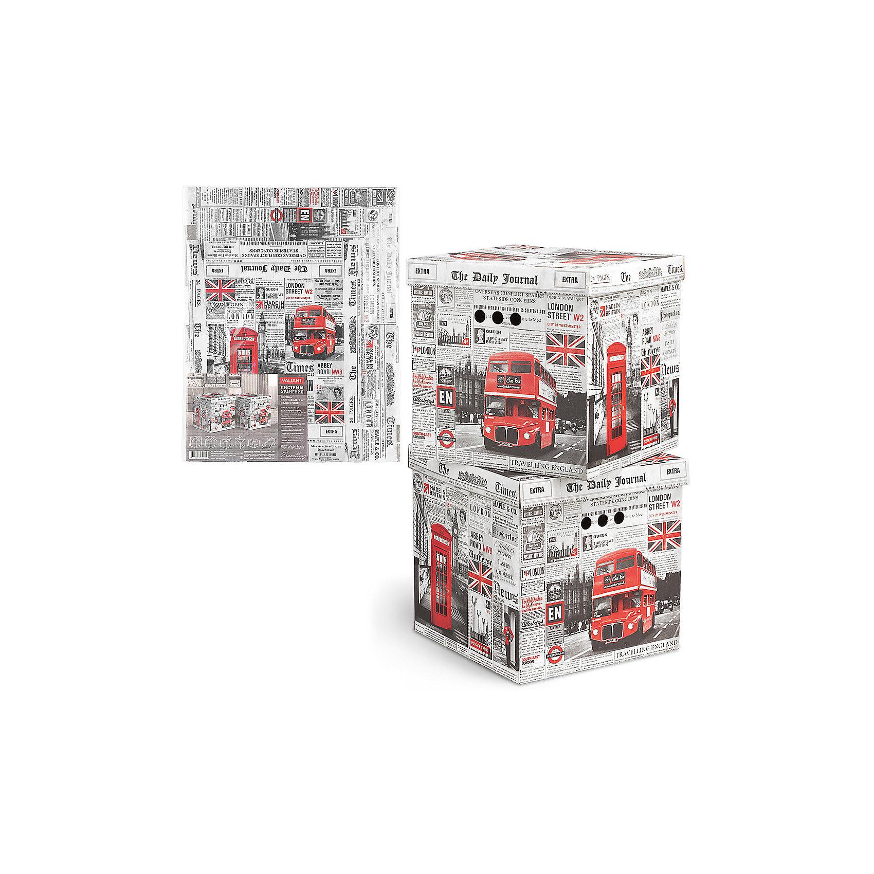 Короб для хранения TRAVELLING ENGLAND , 31.5*31.5*31.5 см, 2 шт., VALIANTВанная комната<br>Короба подходят для хранения различных бытовых предметов, аксессуаров, одежды и пр.Прорезные ручки с двух сторон короба обеспечивают удобство при переноске. Специальный внутренний вкладыш эстетично скрывает дно коробки.<br><br>Ширина мм: 620<br>Глубина мм: 20<br>Высота мм: 495<br>Вес г: 820<br>Возраст от месяцев: 36<br>Возраст до месяцев: 216<br>Пол: Унисекс<br>Возраст: Детский<br>SKU: 6868581