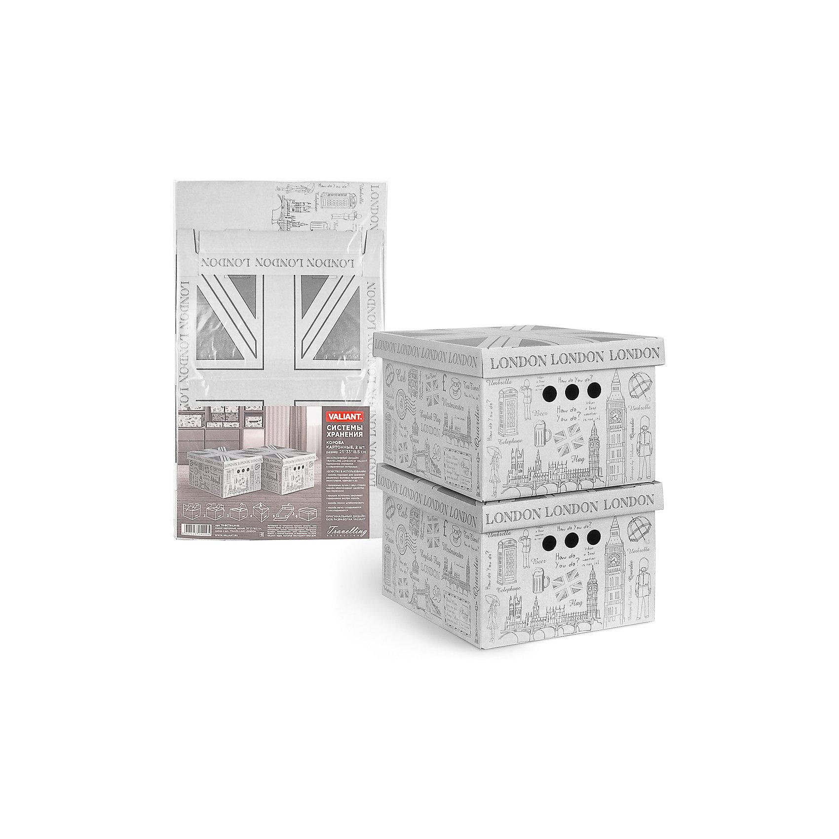 Короб для хранения TRAVELLING LONDON , 25*33*18.5 см, 2 шт., VALIANTВанная комната<br>Короба подходят для хранения различных бытовых предметов, аксессуаров, одежды и пр.Прорезные ручки с двух сторон короба обеспечивают удобство при переноске. Специальный внутренний вкладыш эстетично скрывает дно коробки.<br><br>Ширина мм: 610<br>Глубина мм: 20<br>Высота мм: 360<br>Вес г: 400<br>Возраст от месяцев: 36<br>Возраст до месяцев: 216<br>Пол: Унисекс<br>Возраст: Детский<br>SKU: 6868582