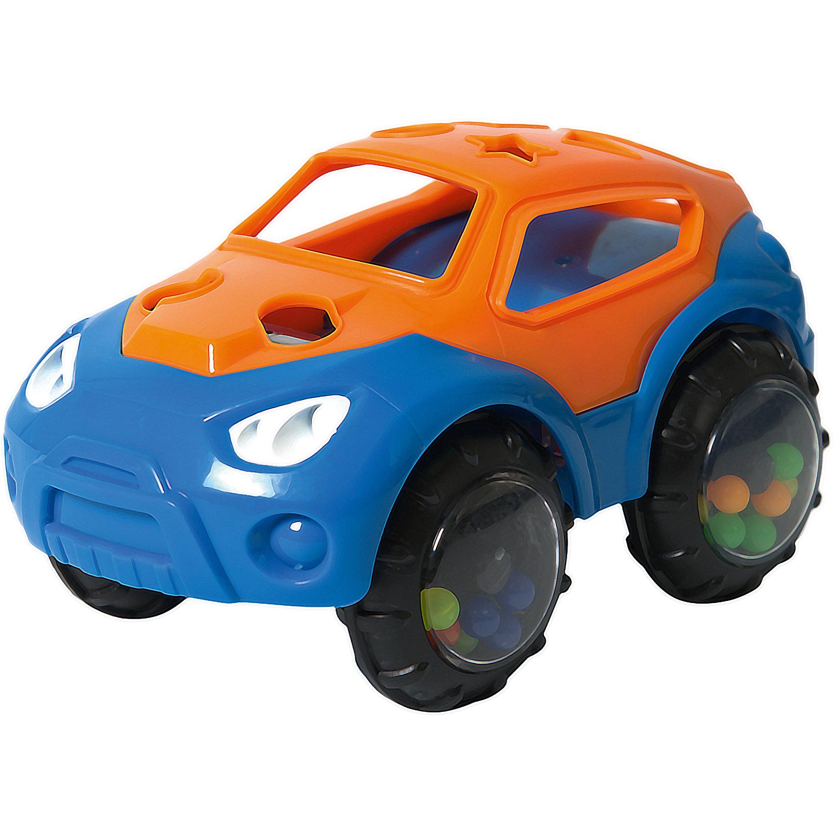 Машинка-неразбивайка, оранжево-синяя, Baby TrendМашинки и транспорт для малышей<br>Первая машинка малыша!<br>Внутри колёсиков спрятаны разноцветные бусинки, которые издают забавные звуки, когда малыш трясёт машинку<br>Благодаря уникальной форме игрушку удобно держать маленькими пальчиками<br>Выполнена из мягкого гибкого пластика<br>Развивает моторику, слух, зрение<br><br>Размер игрушки: 7,5 х 13 см х 8 см<br>Размер упаковки: 18 х 11,5 х 8 см<br><br>Ширина мм: 138<br>Глубина мм: 76<br>Высота мм: 87<br>Вес г: 153<br>Возраст от месяцев: 3<br>Возраст до месяцев: 2147483647<br>Пол: Унисекс<br>Возраст: Детский<br>SKU: 6872166