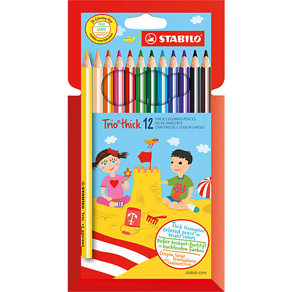 Карандаши цветные 12цв TRIO утолщенныеПисьменные принадлежности<br>Характеристики:<br><br>• возраст: от 3 лет<br>• в наборе: 12 цветных карандашей<br>• утолщенный трехгранный корпус<br>• материал корпуса: древесина<br>• упаковка: картонный футляр<br>• толщина линии: 4,7 мм.<br>• размер упаковки: 20,2х11,2х1 см.<br><br>Карандаши трехгранной формы особенно удобны для детской руки, поэтому ребенок может долго рисовать без усталости. Благодаря большой поверхности зоны обхвата они снижают мышечное напряжение при рисовании и прививают ребенку навык правильно держать пишущий инструмент. Мягкий грифель легко ложится на бумагу, не царапая ее и не крошась.<br><br>Карандаши цветные 12цв TRIO утолщенные можно купить в нашем интернет-магазине.<br><br>Ширина мм: 112<br>Глубина мм: 202<br>Высота мм: 10<br>Вес г: 120<br>Возраст от месяцев: 36<br>Возраст до месяцев: 2147483647<br>Пол: Унисекс<br>Возраст: Детский<br>SKU: 6873778