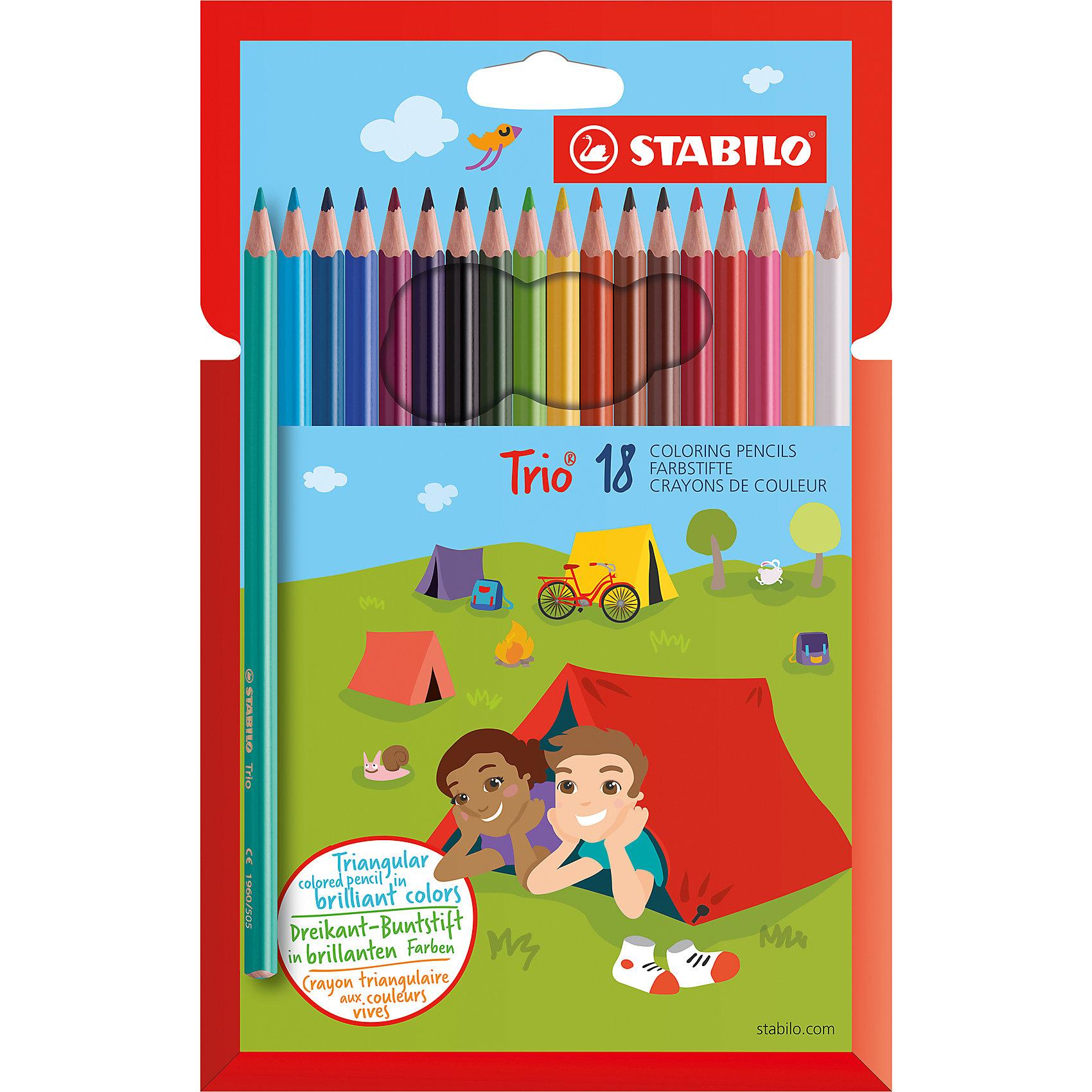 Карандаши цветные 18цв TRIOРисование<br>Характеристики:<br><br>• возраст: от 3 лет<br>• в наборе: 18 цветных карандашей<br>• длина: 17,5 см.<br>• диаметр: 7 мм.<br>• трехгранный корпус<br>• материал корпуса: древесина<br>• упаковка: картонный футляр<br>• размер упаковки: 17,5х13,5х1 см.<br><br>Карандаши трехгранной формы особенно удобны для детской руки, поэтому ребенок может долго рисовать без усталости. Карандаши не ломаются при рисовании и затачивании. Насыщенные цвета имеют высокую светостойкость. Цвета отлично смешиваются и позволяют создать огромное количество оттенков.<br><br>Карандаши цветные 18цв TRIO можно купить в нашем интернет-магазине.<br><br>Ширина мм: 10<br>Глубина мм: 175<br>Высота мм: 135<br>Вес г: 100<br>Возраст от месяцев: 36<br>Возраст до месяцев: 2147483647<br>Пол: Унисекс<br>Возраст: Детский<br>SKU: 6873780