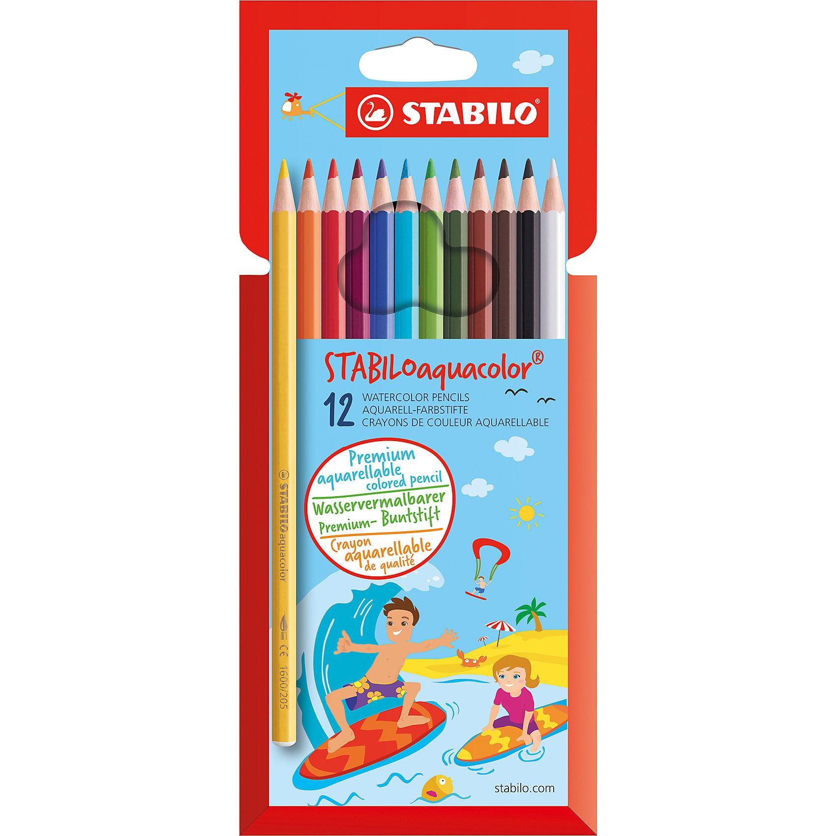 Карандаши цветные 12цв AQUACOLORПисьменные принадлежности<br>Характеристики:<br><br>• возраст: от 3 лет<br>• в наборе: 12 цветных карандашей<br>• материал корпуса: древесина<br>• упаковка: картонный футляр<br>• размер упаковки: 21х8,5х0,8 см.<br><br>Акварельные цветные карандаши STABILO Aquacolor предназначены для создания рисунков с эффектом акварельных красок. Карандаши не ломаются при рисовании и затачивании. Насыщенные цвета имеют высокую светостойкость. Цвета отлично смешиваются и позволяют создать огромное количество оттенков.<br><br>Карандаши цветные 12цв AQUACOLOR можно купить в нашем интернет-магазине.<br><br>Ширина мм: 8<br>Глубина мм: 210<br>Высота мм: 85<br>Вес г: 60<br>Возраст от месяцев: 36<br>Возраст до месяцев: 2147483647<br>Пол: Унисекс<br>Возраст: Детский<br>SKU: 6873781