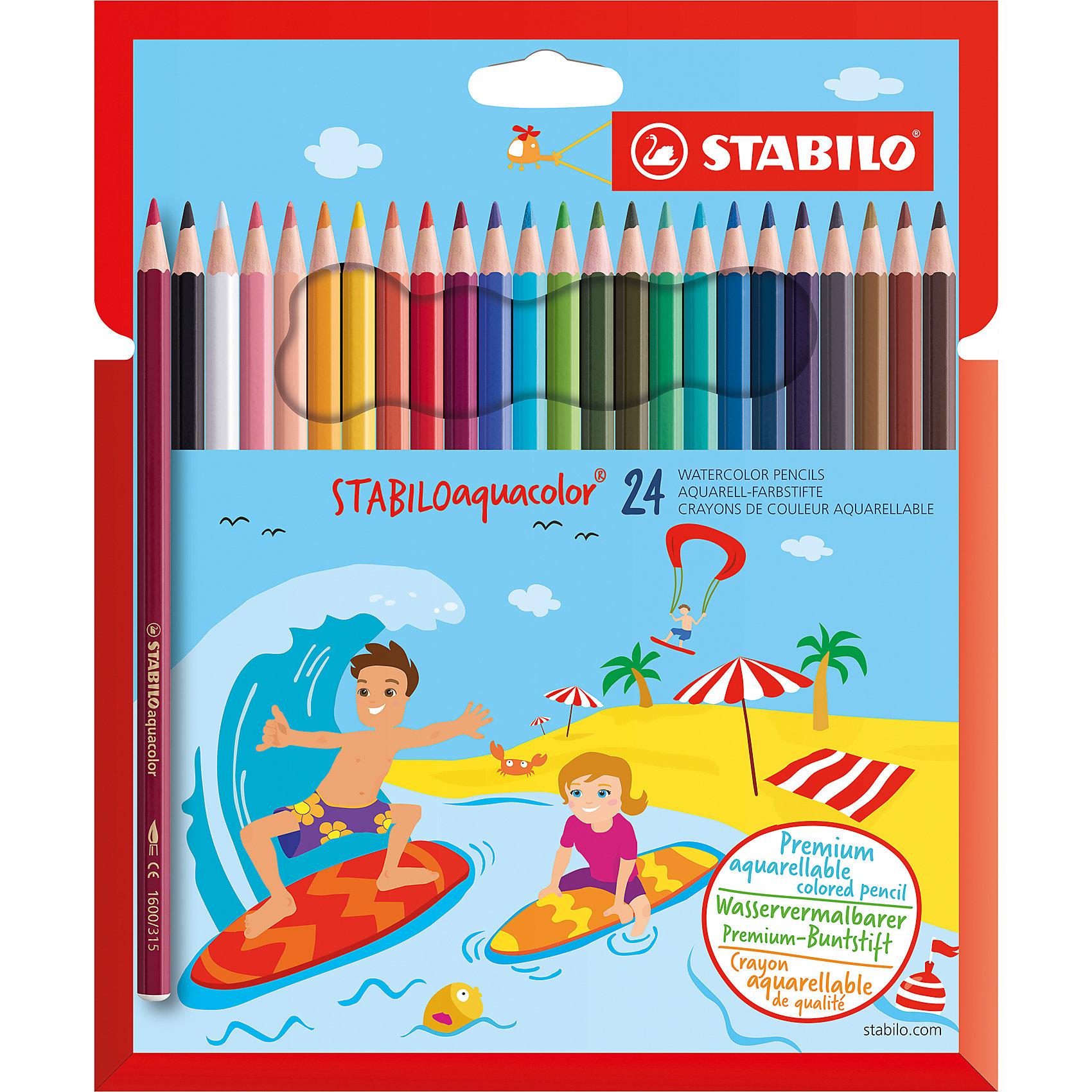 Карандаши цветные 24цв AQUACOLORПисьменные принадлежности<br>Характеристики:<br><br>• возраст: от 3 лет<br>• в наборе: 24 цветных карандаша<br>• материал корпуса: древесина<br>• упаковка: картонный футляр<br>• размер упаковки: 21х17х0,8 см.<br><br>Акварельные цветные карандаши STABILO Aquacolor предназначены для создания рисунков с эффектом акварельных красок. Карандаши не ломаются при рисовании и затачивании. Насыщенные цвета имеют высокую светостойкость. Цвета отлично смешиваются и позволяют создать огромное количество оттенков.<br><br>Карандаши цветные 24цв AQUACOLOR можно купить в нашем интернет-магазине.<br><br>Ширина мм: 8<br>Глубина мм: 210<br>Высота мм: 170<br>Вес г: 120<br>Возраст от месяцев: 36<br>Возраст до месяцев: 2147483647<br>Пол: Унисекс<br>Возраст: Детский<br>SKU: 6873782