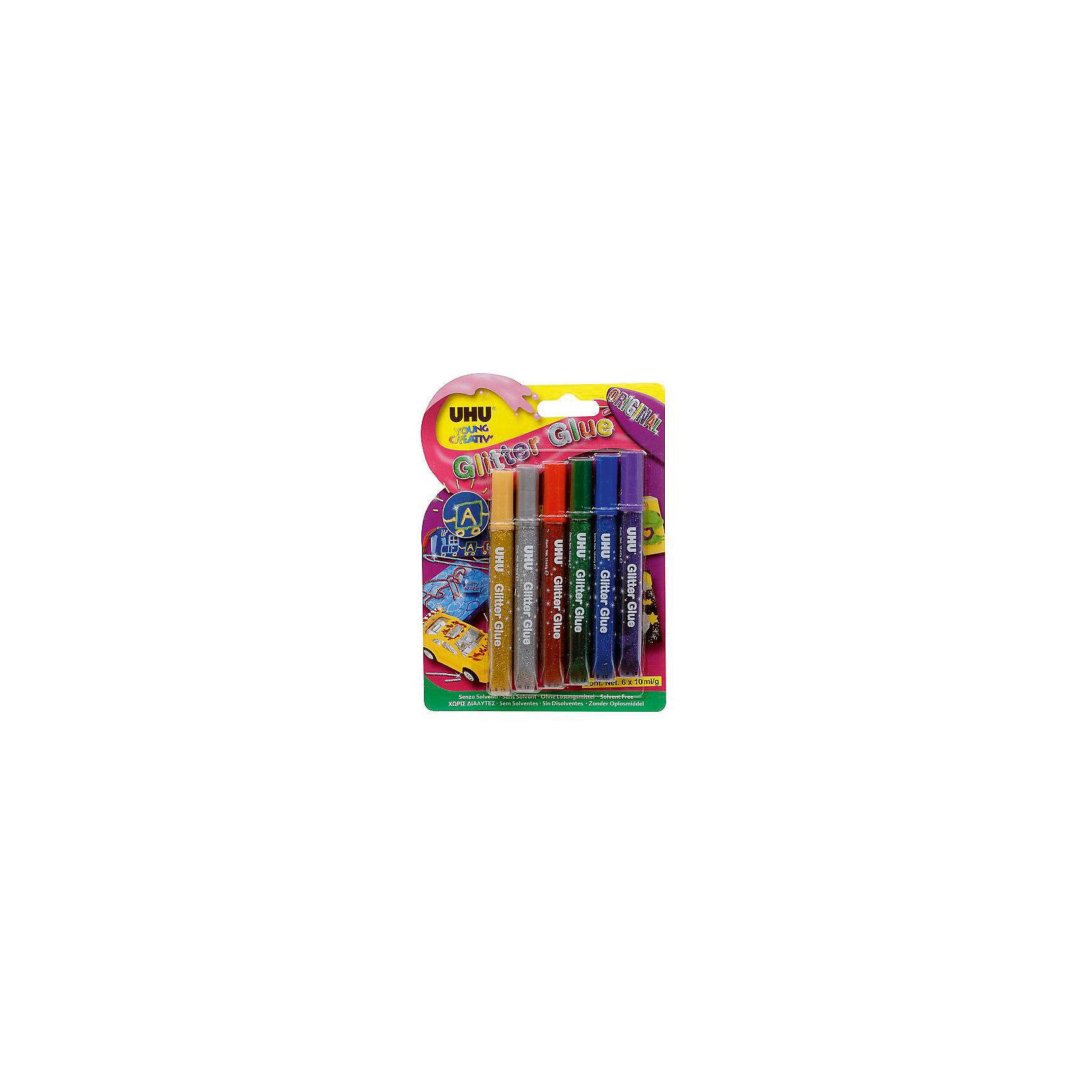 Клеящие блестки 6*10мл GLITTER GLUEПринадлежности для творчества<br>Характеристики:<br><br>• возраст: от 3 лет<br>• в наборе: 6 тюбиков по 10 мл.<br>• упаковка: блистер<br>• размер упаковки: 19х13,5х1,5 см.<br><br>Разноцветные клеящие блёстки предназначены для декорирования украшений с эффектом блеска на различных поверхностях. Идеально подходят для декорирования различных предметов в домашних условиях. Очень мягкий тюбик с тонким наконечником облегчает точное дозирование. Клеящие блестки не стекают и не образуют нитей.<br><br>Клеящие блестки 6*10мл GLITTER GLUE можно купить в нашем интернет-магазине.<br><br>Ширина мм: 190<br>Глубина мм: 15<br>Высота мм: 135<br>Вес г: 65<br>Возраст от месяцев: 36<br>Возраст до месяцев: 2147483647<br>Пол: Унисекс<br>Возраст: Детский<br>SKU: 6873790