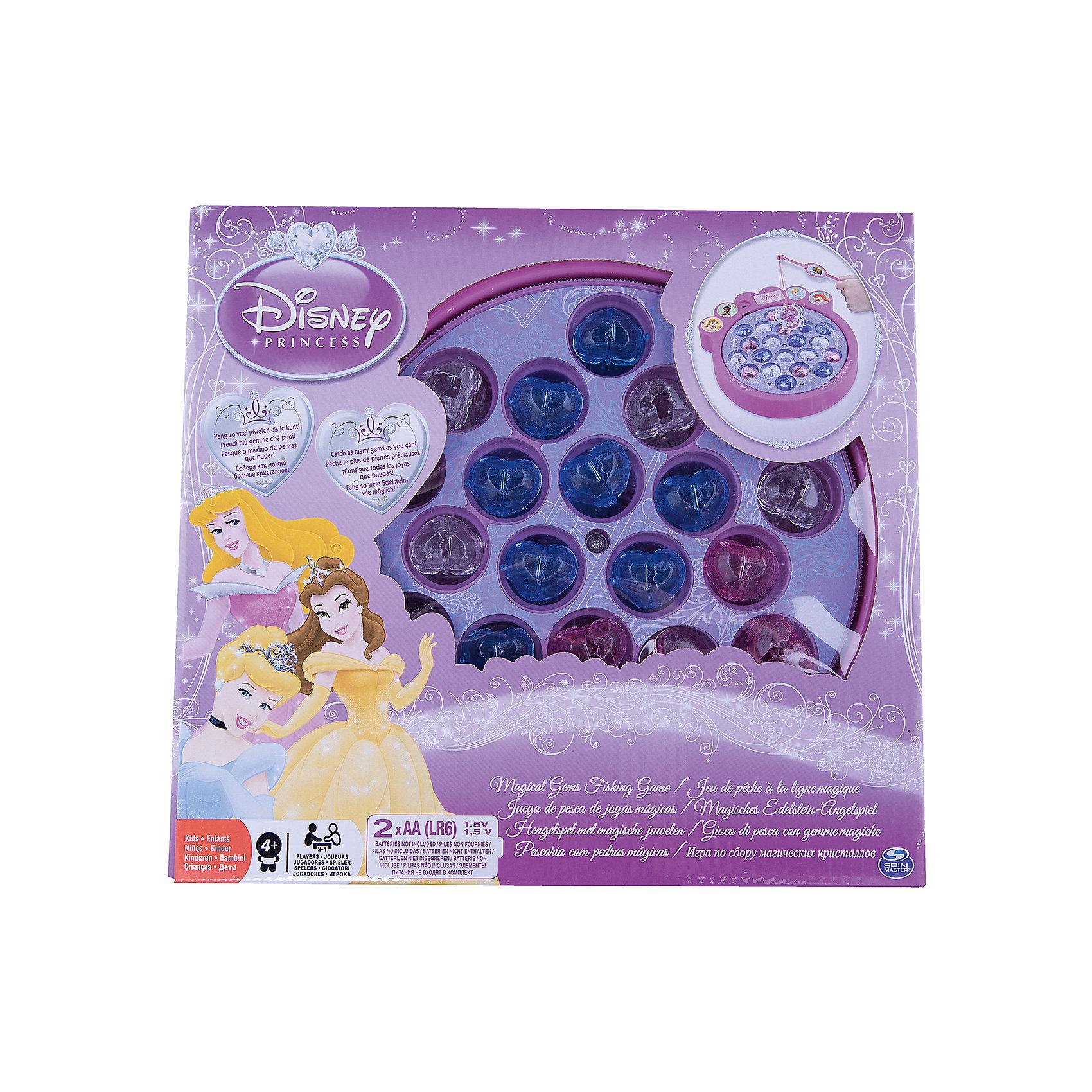 Настольная игра Поймай драгоценные камни Принцессы, Spin MasterИгры для развлечений<br>Характеристики товара:<br><br>• возраст: от 4 лет;<br>• материал: пластик;<br>• в комплекте: 2 удочки, подставка, 21 камень, инструкция;<br>• количество игроков: 2-4 человека;<br>• размер упаковки: 26х26х5 см;<br>• вес упаковки: 640 гр.;<br>• страна производитель: Китай.<br><br>Настольная игра «Поймай драгоценные камни. Принцессы» Spin Master создана по мотивам известных мультфильмов Дисней. На подставке расположились драгоценные камушки в отверстиях. Задача игроков — поймать как можно больше камней при помощи удочки с магнитом.<br><br>Настольную игру «Поймай драгоценные камни. Принцессы» Spin Master можно приобрести в нашем интернет-магазине.<br><br>Ширина мм: 50<br>Глубина мм: 290<br>Высота мм: 260<br>Вес г: 732<br>Возраст от месяцев: 48<br>Возраст до месяцев: 2147483647<br>Пол: Женский<br>Возраст: Детский<br>SKU: 6873823