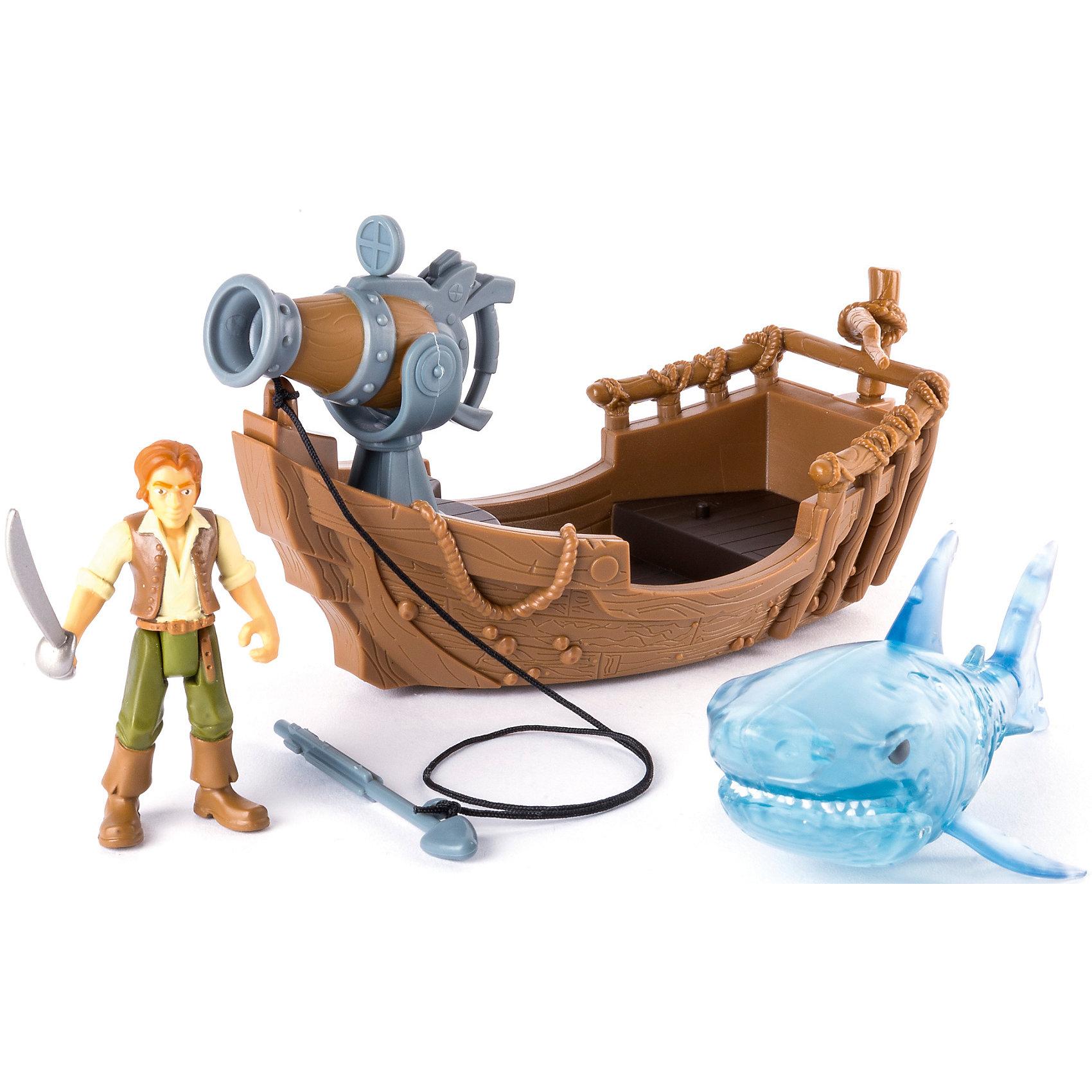Фигурка героя с лодкой и акулой, Spin Master, Пираты Карибского моряЛюбимые герои<br>Характеристики товара:<br><br>• возраст: от 4 лет;<br>• материал: пластик;<br>• в комплекте: фигурка, лодка, акула;<br>• длина лодки: 18 см;<br>• размер упаковки: 30х11х11 см;<br>• вес упаковки: 300 гр.;<br>• страна производитель: Китай.<br><br>Игровой набор «Фигурка героя с лодкой и акулой» Пираты Карибского моря Spin Master создан по мотивам известного фильма «Пираты Карибского моря: Мертвецы не рассказывают сказки». В набор входят фигурка, лодка и акула-призрак.<br><br>Лодка оборудована гарпуном, который стреляет снарядом. У акулы открывается пасть. Набор позволит детям устроить захватывающие игры, сражения или воспроизвести сценки из фильма.<br><br>Игровой набор «Фигурка героя с лодкой и акулой» Пираты Карибского моря Spin Master можно приобрести в нашем интернет-магазине.<br><br>Ширина мм: 60<br>Глубина мм: 290<br>Высота мм: 210<br>Вес г: 415<br>Возраст от месяцев: 48<br>Возраст до месяцев: 2147483647<br>Пол: Мужской<br>Возраст: Детский<br>SKU: 6873831
