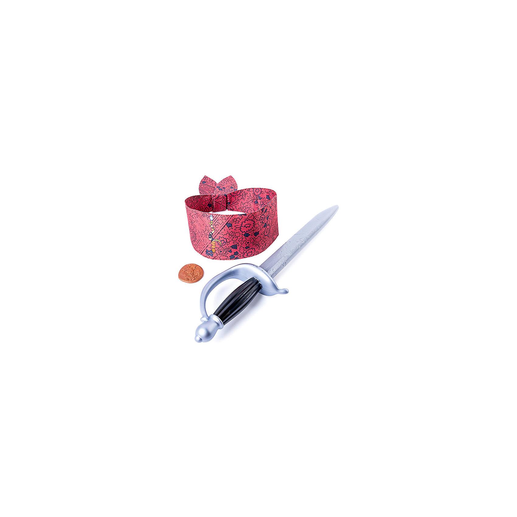 Набор Джека Воробья: пиратская шпага, повязка, монета, Spin Master, Пираты Карибского моряБластеры, пистолеты и прочее<br>Характеристики товара:<br><br>• возраст: от 4 лет;<br>• материал: пластик;<br>• в комплекте: монета, шпага, повязка;<br>• размер упаковки: 50х16х9 см;<br>• вес упаковки: 210 гр.;<br>• страна производитель: Китай.<br><br>Набор Джека Воробья «Пиратская шпага, повязка, монета» Пираты Карибского моря Spin Master создан по мотивам известного фильма «Пираты Карибского моря: Мертвецы не рассказывают сказки». В наборе неизменные атрибуты капитана Джека Воробья, с которыми дети могут устраивать игры и воспроизводить сценки из фильма.<br><br>Набор Джека Воробья «Пиратская шпага, повязка, монета» Пираты Карибского моря Spin Master можно приобрести в нашем интернет-магазине.<br><br>Ширина мм: 60<br>Глубина мм: 140<br>Высота мм: 380<br>Вес г: 390<br>Возраст от месяцев: 48<br>Возраст до месяцев: 2147483647<br>Пол: Мужской<br>Возраст: Детский<br>SKU: 6873835