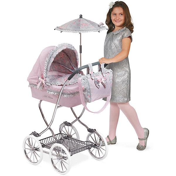 Коляска с сумкой и зонтиком Романтик, розовая, 90 см, DeCuevasТранспорт и коляски для кукол<br>Характеристики товара:<br><br>• возраст: от 3 лет;<br>• материал: пластик, металл;<br>• в комплекте: коляска, сумка, зонт, подушка;<br>• размер коляски: 90х80х45 см;<br>• размер упаковки: 38х56х15 см;<br>• вес упаковки: 5,705 кг;<br>• страна производитель: Испания.<br><br>Коляска с сумкой и зонтиком «Романтик» DeCuevas выполнена в ярком элегантном дизайне. Коляска подойдет для кукол до 45 см. Коляска оснащена классическим неповоротным шасси на больших колесах. Прорезиненные колеса плавно и бесшумно едут по асфальту. Металлический каркас выдержит не один год эксплуатации. Внизу расположена корзинка для вещей и игрушек. Коляска укомплектована мягкой подушкой, сумкой для девочки и зонтиком, который закроет от солнца.<br><br>Коляску с сумкой и зонтиком «Романтик» DeCuevas розовую можно приобрести в нашем интернет-магазине.<br><br>Ширина мм: 450<br>Глубина мм: 800<br>Высота мм: 900<br>Вес г: 5705<br>Возраст от месяцев: 36<br>Возраст до месяцев: 2147483647<br>Пол: Женский<br>Возраст: Детский<br>SKU: 6876433