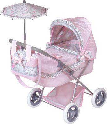 Коляска с сумкой и зонтиком Романтик , розовая, 65 см, DeCuevas фото-1