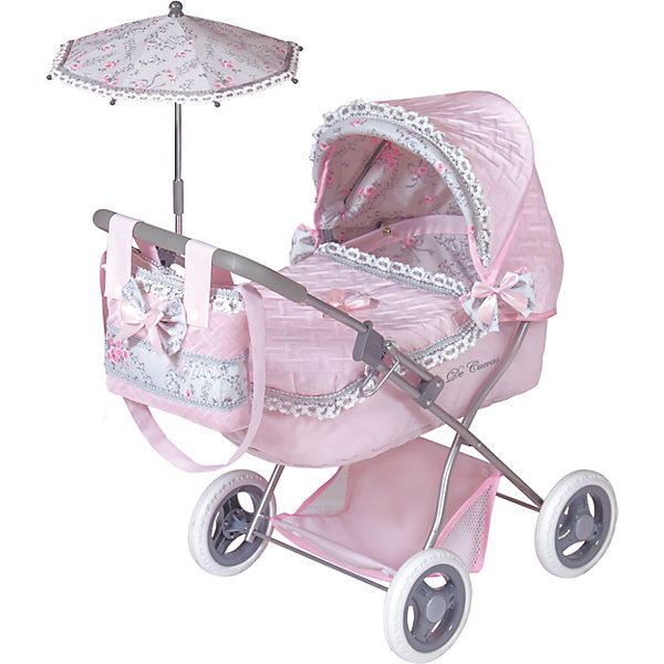 Коляска с сумкой и зонтиком Романтик, розовая, 65 см, DeCuevasТранспорт и коляски для кукол<br>Характеристики товара:<br><br>• возраст: от 3 лет;<br>• материал: пластик, металл;<br>• в комплекте: коляска, сумка, зонт, подушка;<br>• размер коляски: 65х60х38 см;<br>• размер упаковки: 53х34х12 см;<br>• вес упаковки: 2,863 кг;<br>• страна производитель: Испания.<br><br>Коляска с сумкой и зонтиком «Романтик» DeCuevas розовая выполнена в ярком элегантном дизайне. Коляска подойдет для кукол до 45 см. Коляска оснащена классическим неповоротным шасси на больших колесах. Прорезиненные колеса плавно и бесшумно едут по асфальту. Металлический каркас выдержит не один год эксплуатации. Внизу расположена сетчатая корзинка для вещей и игрушек. Коляска укомплектована мягкой подушкой, сумкой для девочки и зонтиком, который закроет от солнца.<br><br>Коляску с сумкой и зонтиком «Романтик» DeCuevas розовую 65 см можно приобрести в нашем интернет-магазине.<br><br>Ширина мм: 380<br>Глубина мм: 600<br>Высота мм: 650<br>Вес г: 2863<br>Возраст от месяцев: 36<br>Возраст до месяцев: 2147483647<br>Пол: Женский<br>Возраст: Детский<br>SKU: 6876434
