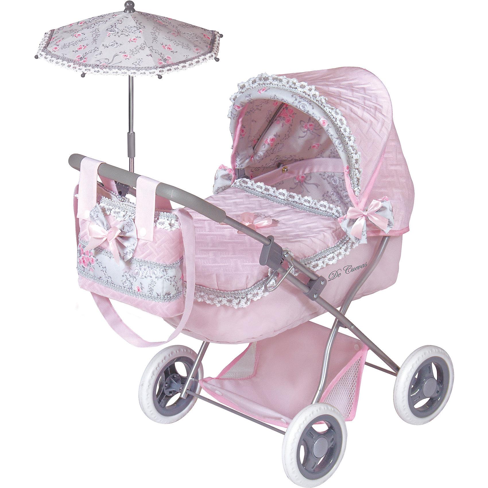 Коляска с сумкой и зонтиком Романтик, розовая, 65 см, DeCuevasКоляски и транспорт для кукол<br>Коляска для кукол классическая люлька-качалка. Нежно-розового цвета с бантиками и рюшками, сумочкой на ручку, зонтиком и подушкой. У коляски прорезиненные колеса, металлический каркас, удобная сетка внизу для вещей<br><br>Ширина мм: 380<br>Глубина мм: 600<br>Высота мм: 650<br>Вес г: 2863<br>Возраст от месяцев: 36<br>Возраст до месяцев: 2147483647<br>Пол: Женский<br>Возраст: Детский<br>SKU: 6876434