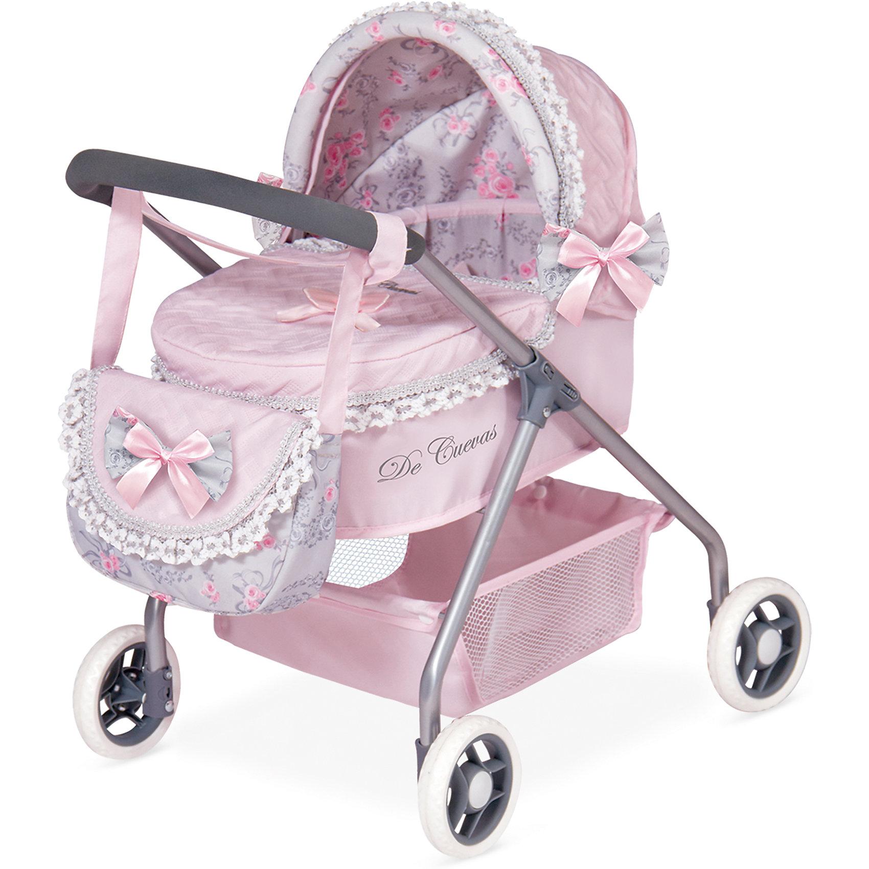 Коляска с сумкой Романтик, розовая, 56 см, DeCuevasКоляски и транспорт для кукол<br>Коляска для кукол классическая люлька-качалка. Нежно-розового цвета с бантиками и рюшками, сумочкой на ручку, зонтиком и подушкой. У коляски прорезиненные колеса, металлический каркас, удобная сетка внизу для вещей<br><br>Ширина мм: 350<br>Глубина мм: 510<br>Высота мм: 560<br>Вес г: 2725<br>Возраст от месяцев: 36<br>Возраст до месяцев: 2147483647<br>Пол: Женский<br>Возраст: Детский<br>SKU: 6876435