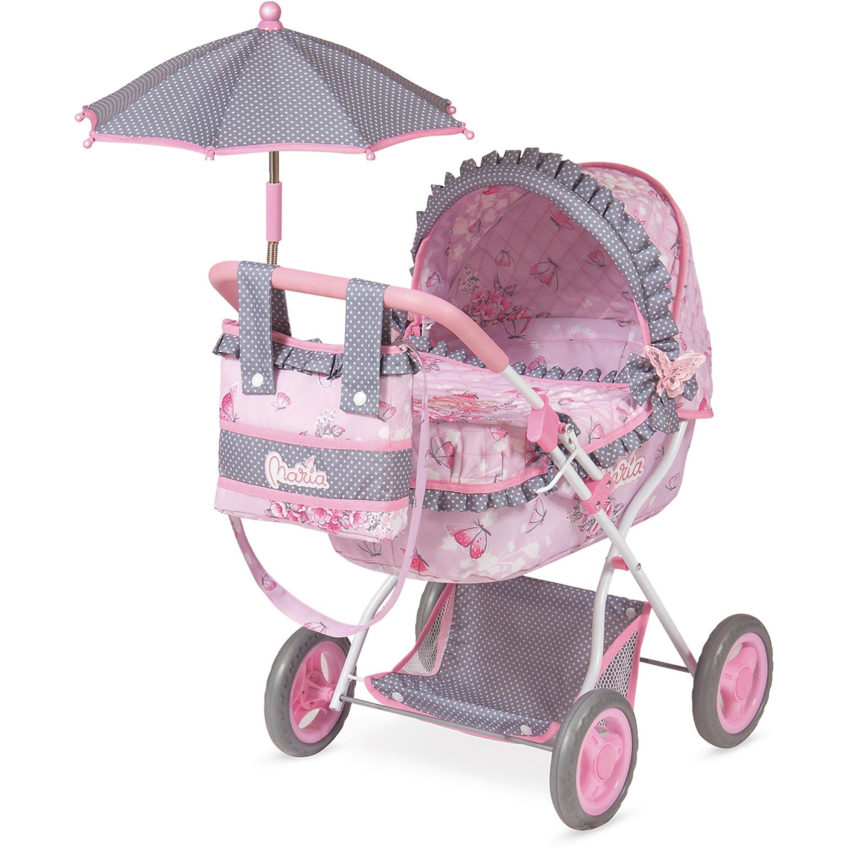 Коляска для куклы с сумкой и зонтиком DeCuevas Мария, 65 смТранспорт и коляски для кукол<br>Коляска для кукол классическая люлька-качалка. Нежно-розового цвета с бантиками и рюшками, сумочкой на ручку, зонтиком и подушкой. У коляски прорезиненные колеса, металлический каркас, удобная сетка внизу для вещей<br><br>Ширина мм: 380<br>Глубина мм: 600<br>Высота мм: 650<br>Вес г: 2863<br>Возраст от месяцев: 36<br>Возраст до месяцев: 2147483647<br>Пол: Женский<br>Возраст: Детский<br>SKU: 6876438