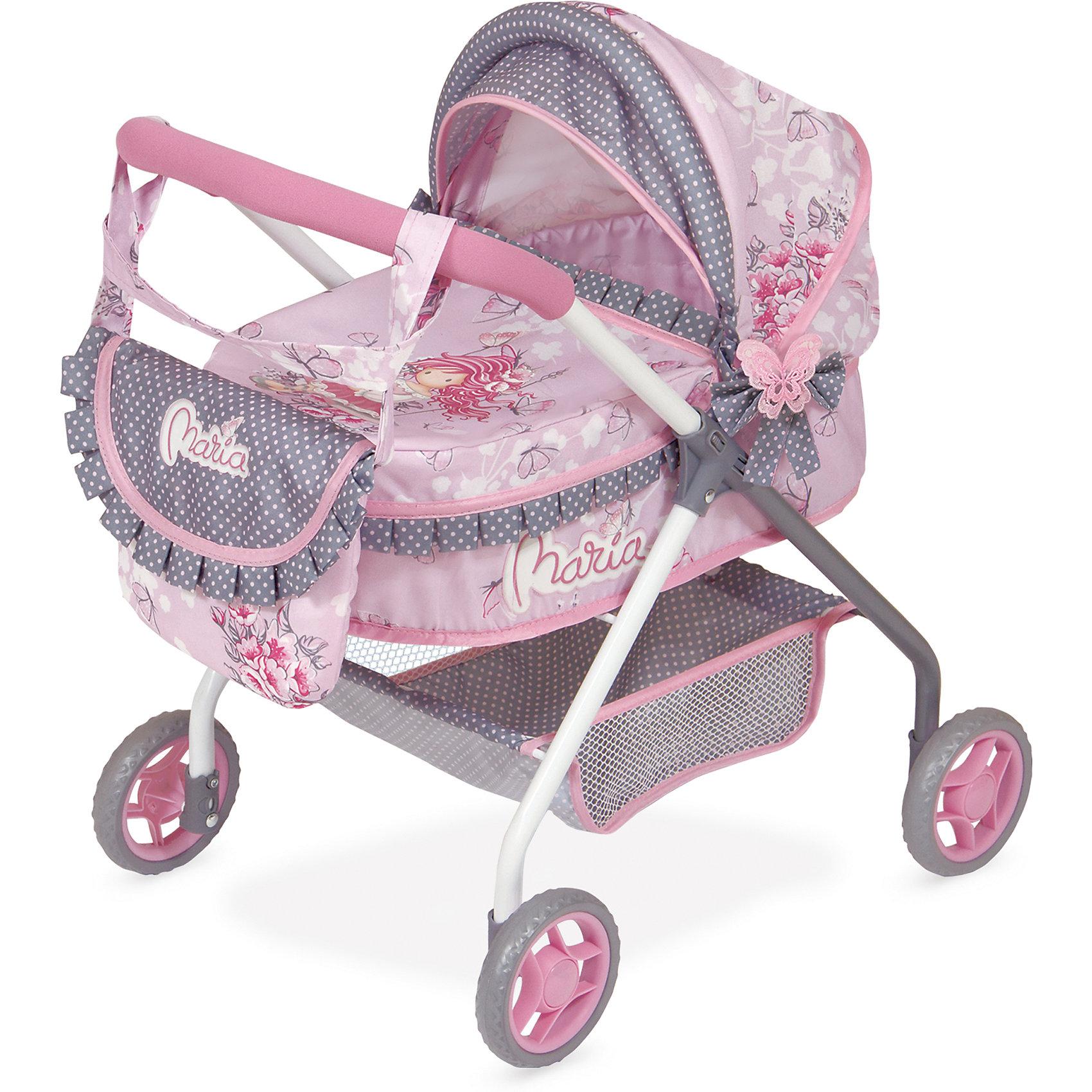 Коляска с сумкой Мария, 56 см, DeCuevasКоляски и транспорт для кукол<br>Коляска для кукол классическая люлька-качалка. Нежно-розового цвеа с рисунком девочки-аниме и оборками, сумочкой на ручку и подушкой. У коляски прорезиненные колеса, металлический каркас, удобная сетка внизу для вещей<br><br>Ширина мм: 350<br>Глубина мм: 510<br>Высота мм: 560<br>Вес г: 2725<br>Возраст от месяцев: 36<br>Возраст до месяцев: 2147483647<br>Пол: Женский<br>Возраст: Детский<br>SKU: 6876439