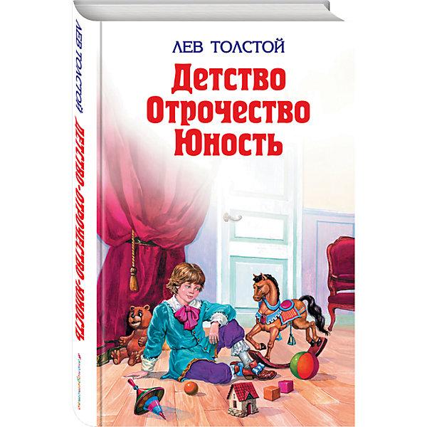 Детство, отрочество, юность, Л. ТолстойРассказы и повести<br>Характеристики:<br><br>• ISBN: 978-5-699-01487-3;<br>• возраст: от 6 лет;<br>• формат: 84х108/32;<br>• бумага: газетная; <br>• иллюстрации: черно-белые;<br>• тип обложки: 7Бц – твердая (целлофанированная или лакированная);<br>• серия: Детская библиотека;<br>• автор: Толстой Л.Н.;<br>• художник: Воробьев А.;<br>• редактор: Кондрашова Л.;<br>• издательство: Эксмо, 2016 г.;<br>• количество страниц: 512;<br>• размеры: 20,7х13,3х2,8 см;<br>• масса: 432 г.<br><br>Книга из популярной российской серии для детей и подростков. В ней собраны произведения Толстого для учеников средней школы. Классическая литература развивает важные человеческие качества и учит добру, послушанию и ответственности.<br><br>Книга станет хорошим подарком для школьников и дополнит коллекцию детской литературы.<br><br>Книгу «Детство.Отрочество.Юность», Толстой Л.Н., Эксмо можно купить в нашем интернет-магазине.<br><br>Ширина мм: 210<br>Глубина мм: 140<br>Высота мм: 30<br>Вес г: 432<br>Возраст от месяцев: 72<br>Возраст до месяцев: 144<br>Пол: Унисекс<br>Возраст: Детский<br>SKU: 6878045