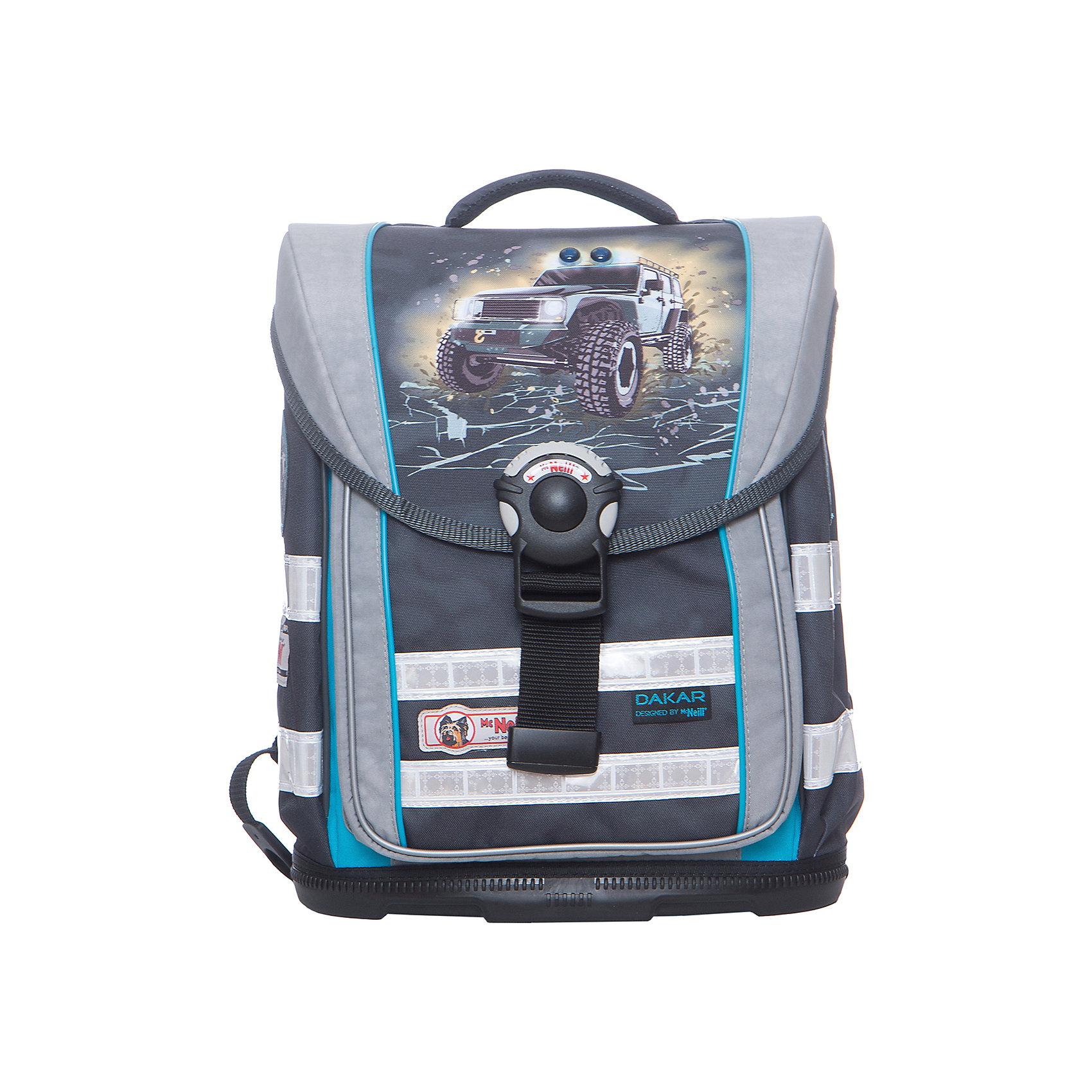 Школьный рюкзак MC Neill ERGO Light COMPACT ДакарРанцы<br>Вместимость 19,5 л,  вес ранца 1100 гр, удобный замок, боковые потайные карманы на молниях, дно из особо прочного пластика, ортопедическая спина, регулируемые ремни на мягких подушках.  31*38*20см<br><br>Ширина мм: 31<br>Глубина мм: 38<br>Высота мм: 20<br>Вес г: 1200<br>Возраст от месяцев: 72<br>Возраст до месяцев: 120<br>Пол: Мужской<br>Возраст: Детский<br>SKU: 6878776