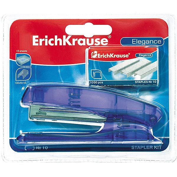 Erich Krause Степлер No.10  Elegance + скобы  дв.блистерШкольные аксессуары<br>Характеристики товара:<br><br>• скобы в комплекте;<br>• встроенный антистеплер;<br>• металлический механизм подачи скоб;<br>• материал: пластик, металл;<br>• размер упаковки: 4х3х8 см;<br>• вес: 110 грамм.<br><br>Степлер №10 Elegance подходит для скрепления бумаги объемом до 15 листов. Степлер хорошо лежит в руке, не требуя больших усилий. Механизм подачи скоб изготовлен из цельного металла, что обеспечивает степлеру прочность и долговечность. Для удобства работы степлер оснащен встроенным антистеплером. В комплект входит набор металлических скоб.<br><br>Erich Krause (Эрих Краузе) Степлер No.10  Elegance + скобы  дв.блистер можно купить в нашем интернет-магазине.<br><br>Ширина мм: 80<br>Глубина мм: 30<br>Высота мм: 40<br>Вес г: 109<br>Возраст от месяцев: 144<br>Возраст до месяцев: 2147483647<br>Пол: Унисекс<br>Возраст: Детский<br>SKU: 6878810
