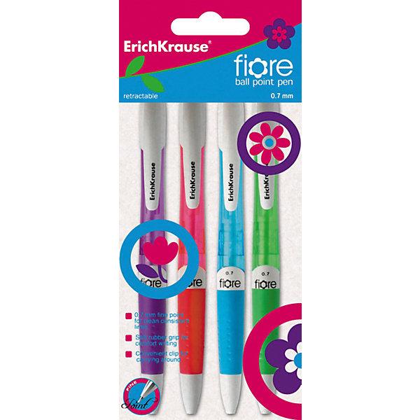 Erich Krause Ручка шариковые автоматическая  0,7 мм FIORE в наборе из 4 штук синие чернилаПисьменные принадлежности<br>Характеристики товара:<br><br>• в комплекте: 4 ручки;<br>• цвет чернил: синий;<br>• пишущий узел: 0,7 мм;<br>• толщина линии: 0,35 мм;<br>• материал: пластик, чернила, металл;<br>• размер упаковки: 7х20х1 см;<br>• вес: 42 грамма.<br><br>Набор шариковых ручек FIORE прекрасно подойдет для работы, учебы и письменных занятий. В комплект входят 4 ручки из полупрозрачного пластика, выполненного в ярких цветах. Каждая ручка имеет резиновую манжетку, препятствующую скольжению пальцев по ручке. Эргономичная форма изделий обеспечивает комфортное письмо. Пишущий узел толщиной 0,7 мм оставляет четкие и ровные линии насыщенного цвета.<br><br>Erich Krause (Эрих Краузе) Ручки шариковые автоматические 0,7 мм FIORE в наборе из 4 штук синие чернила можно купить в нашем интернет-магазине.<br>Ширина мм: 200; Глубина мм: 60; Высота мм: 15; Вес г: 42; Возраст от месяцев: 144; Возраст до месяцев: 2147483647; Пол: Унисекс; Возраст: Детский; SKU: 6878811;